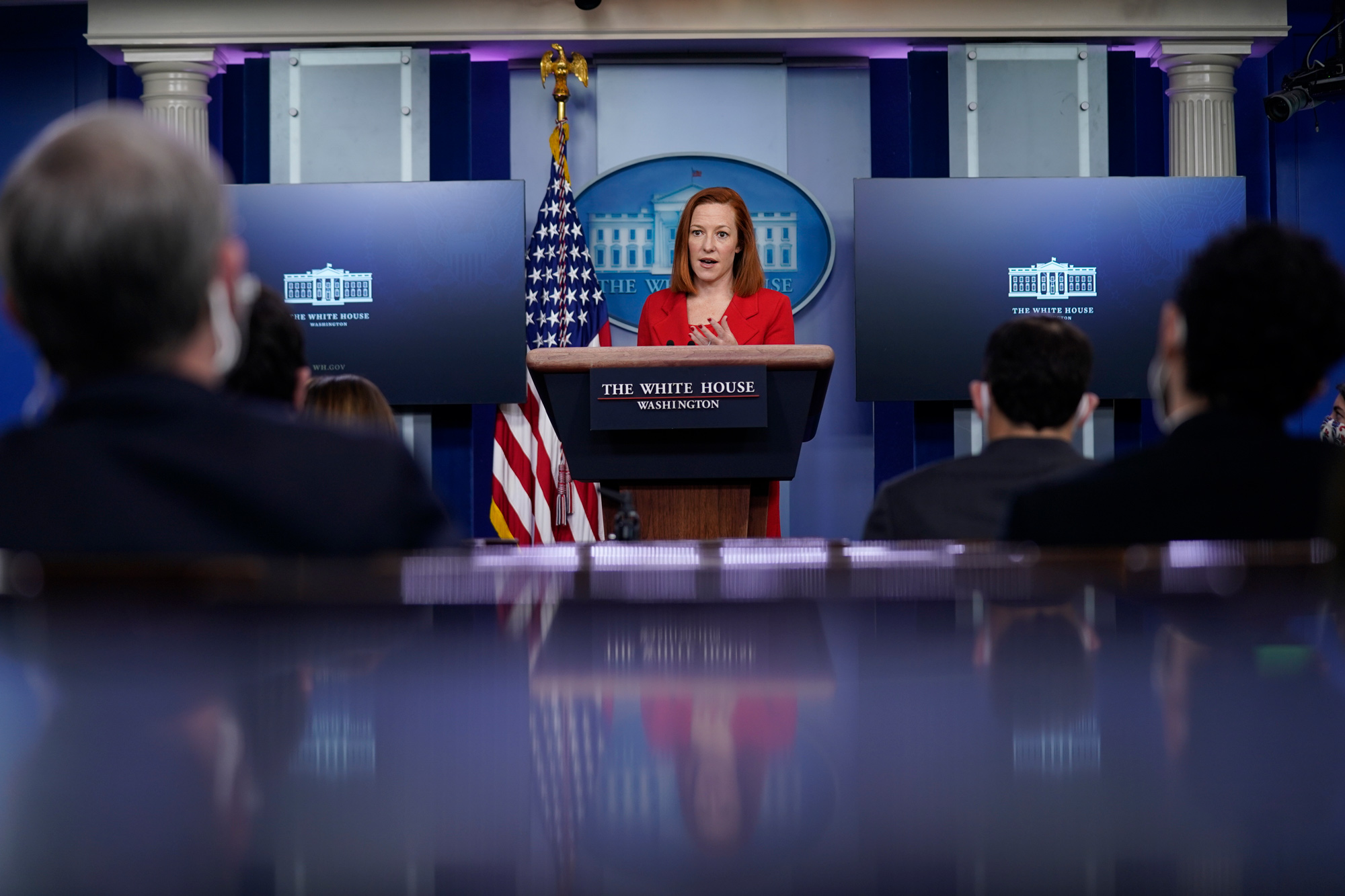 White House press secretary Jen Psaki speaks during a press briefing at the White House on March 2 in Washington, DC.