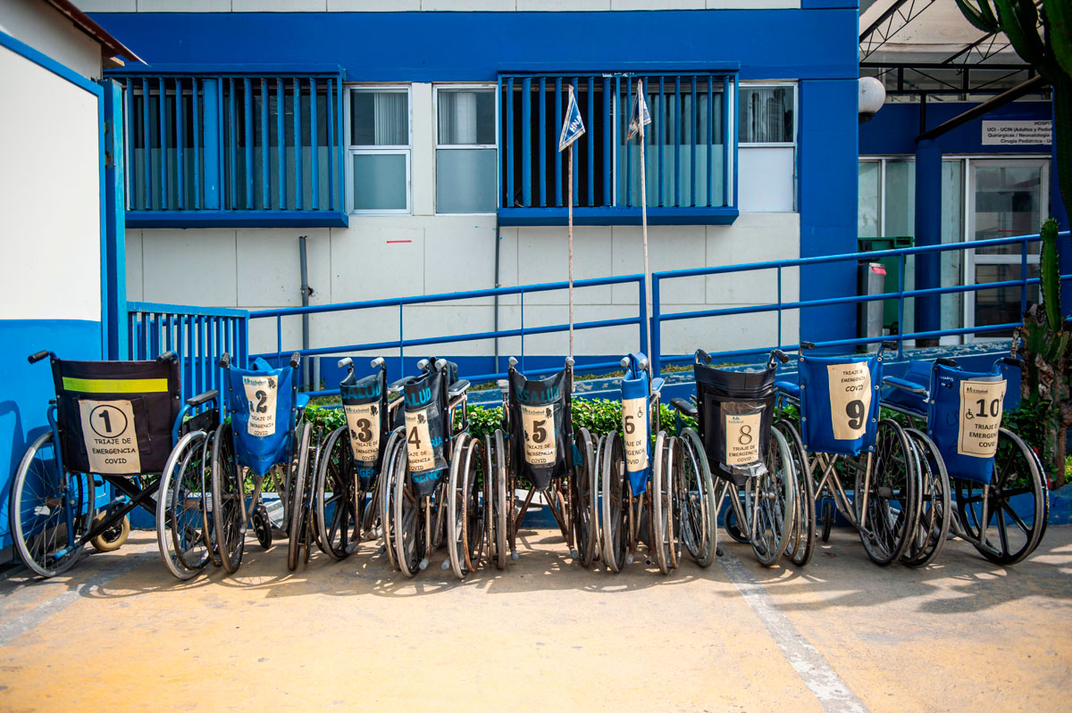 Wheelchairs for Covid-19 patients are seen at the Alberto Sabogal Sologuren Hospital, in Lima, Peru on December 11.
