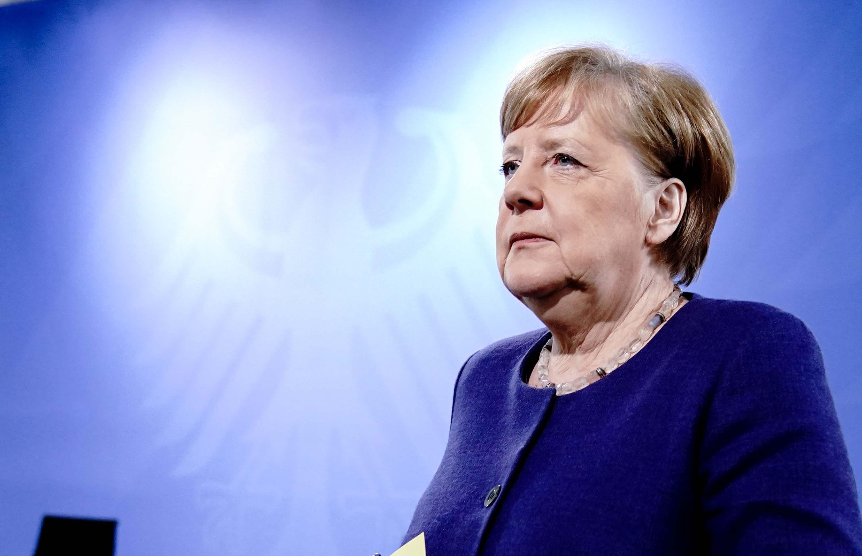 German Chancellor Angela Merkel addresses a press conference in Berlin on April 30.