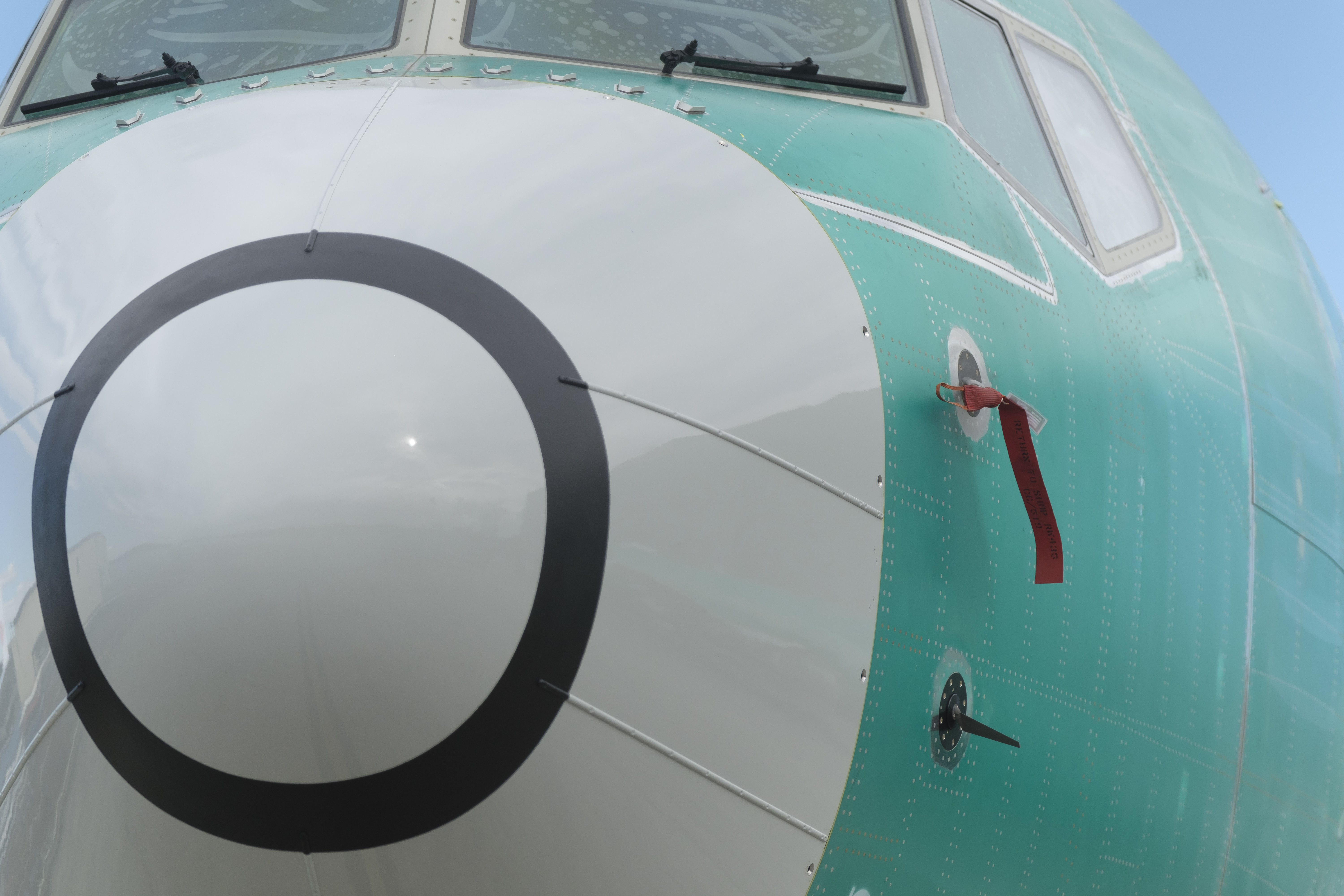 One of two sensors that measures the angle of attack is pictured at bottom on a Boeing 737 MAX 8 airplane outside the company's factory on March 22, 2019 in Renton, Washington.