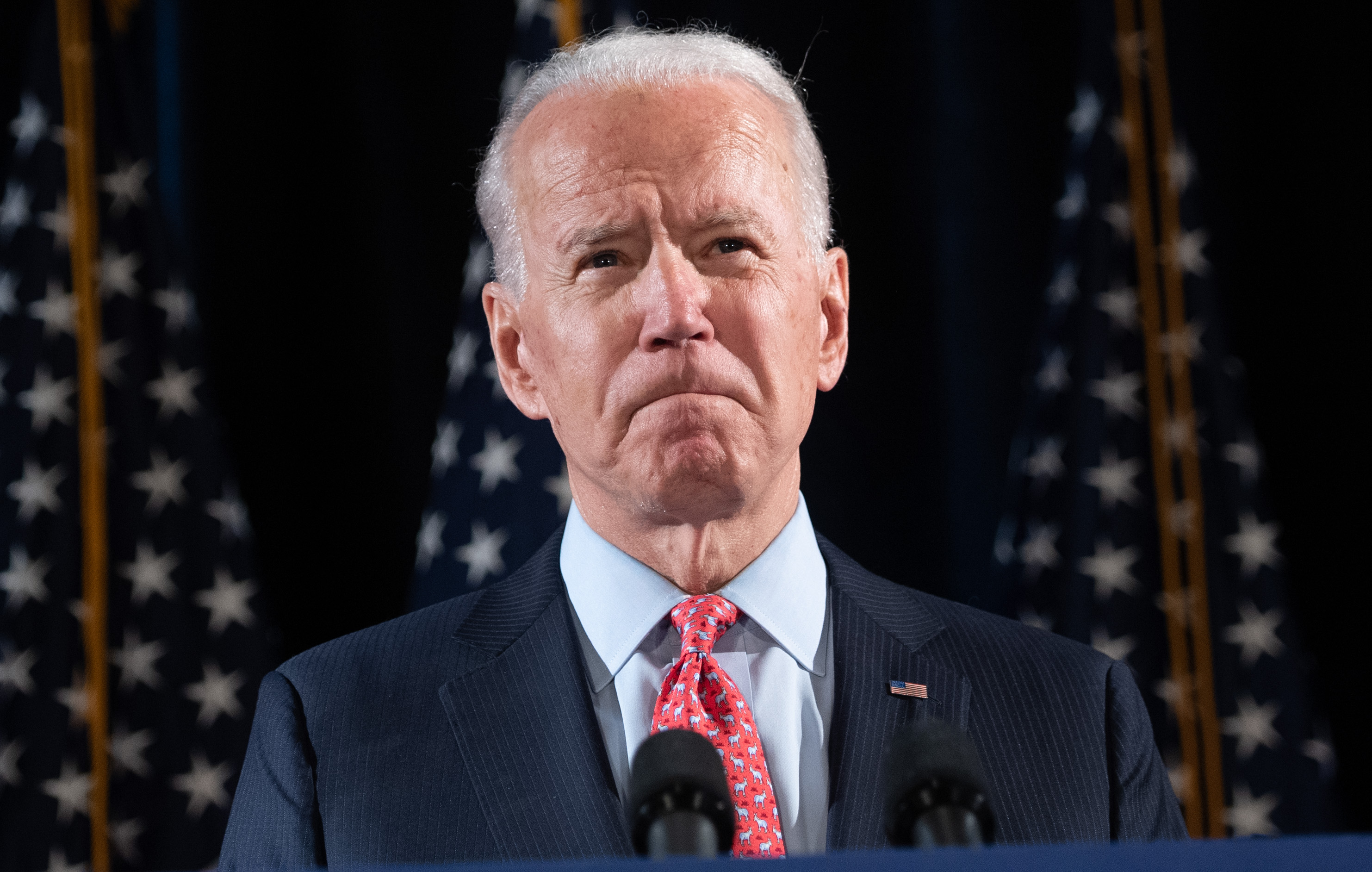 Former Vice President and Democratic presidential hopeful Joe Biden speaks about Covid-19 during a press event in Wilmington, Delaware, on March 12.