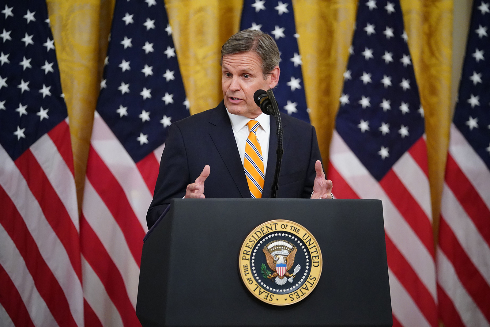 Tennessee Gov. Bill Lee speaks in the East Room of the White House in Washington, DC on April 30.