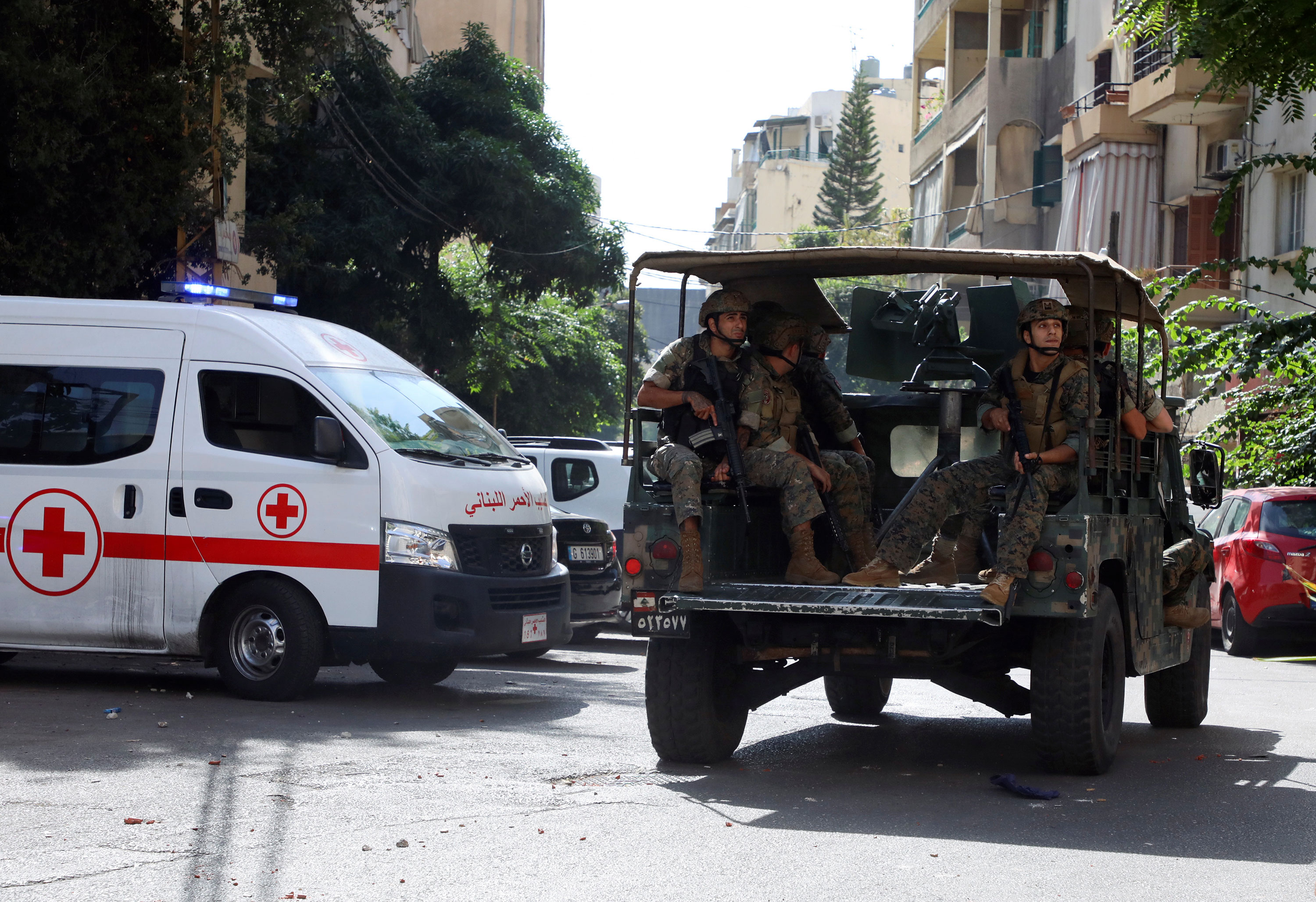 Lebanese soldiers are deployed after gunfire erupted near the site of a protest in Beirut on October 14.