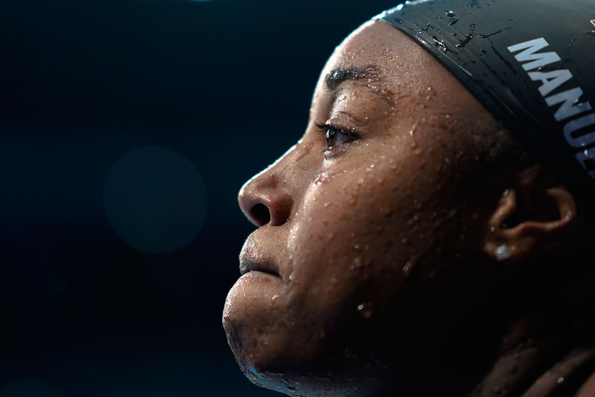 Simone Manuel leaves the pool after the 50-meter freestyle semifinal on July 31.