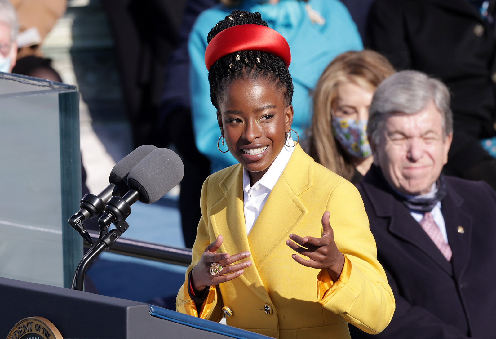 Youth Poet Laureate Amanda Gorman speaks during the inauguration of US President Joe Biden on the West Front of the US Capitol in Washington, DC, on January 20.