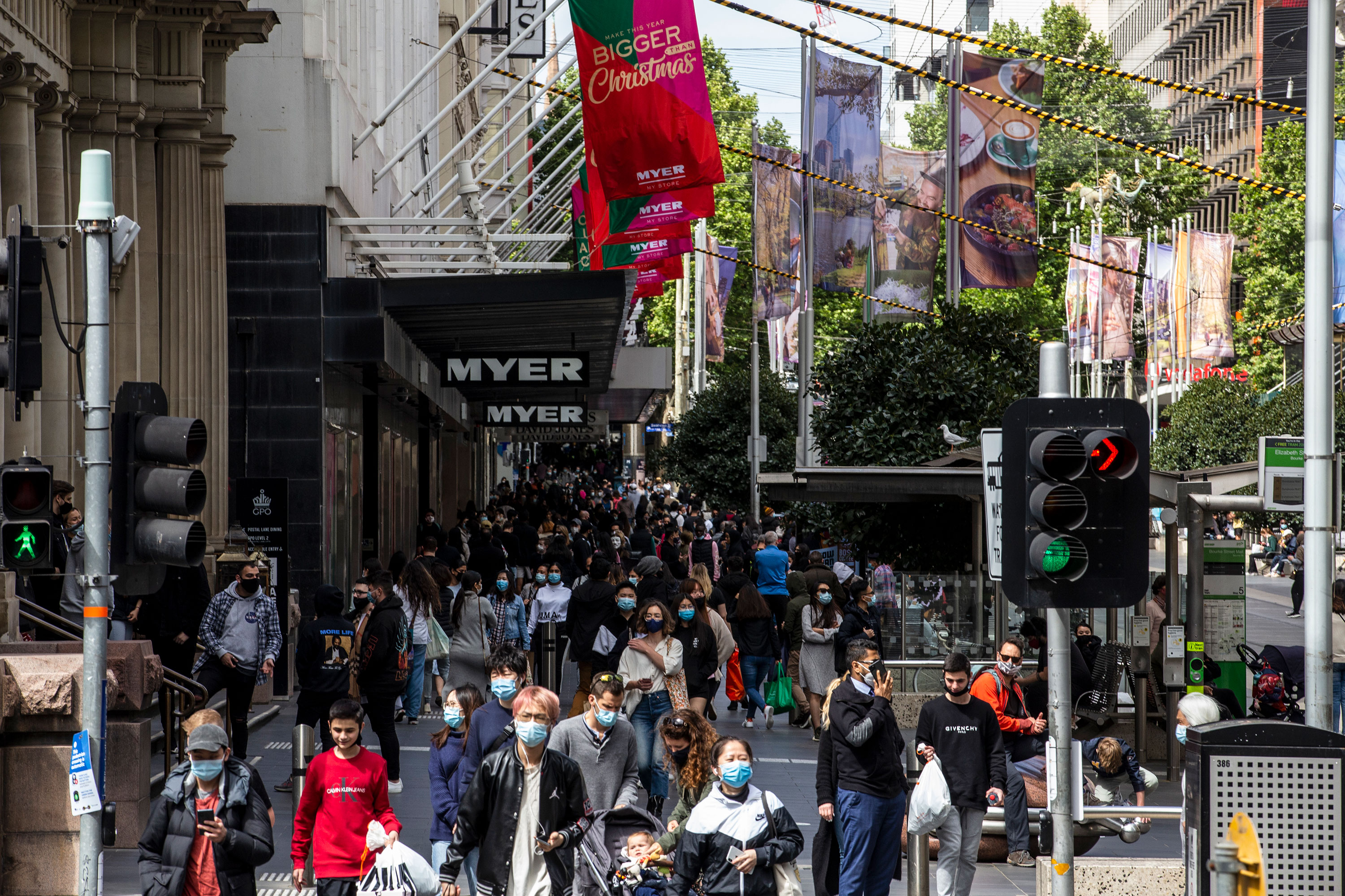 People shop at Bourke Street mall in Melbourne, Australia, on November 7.