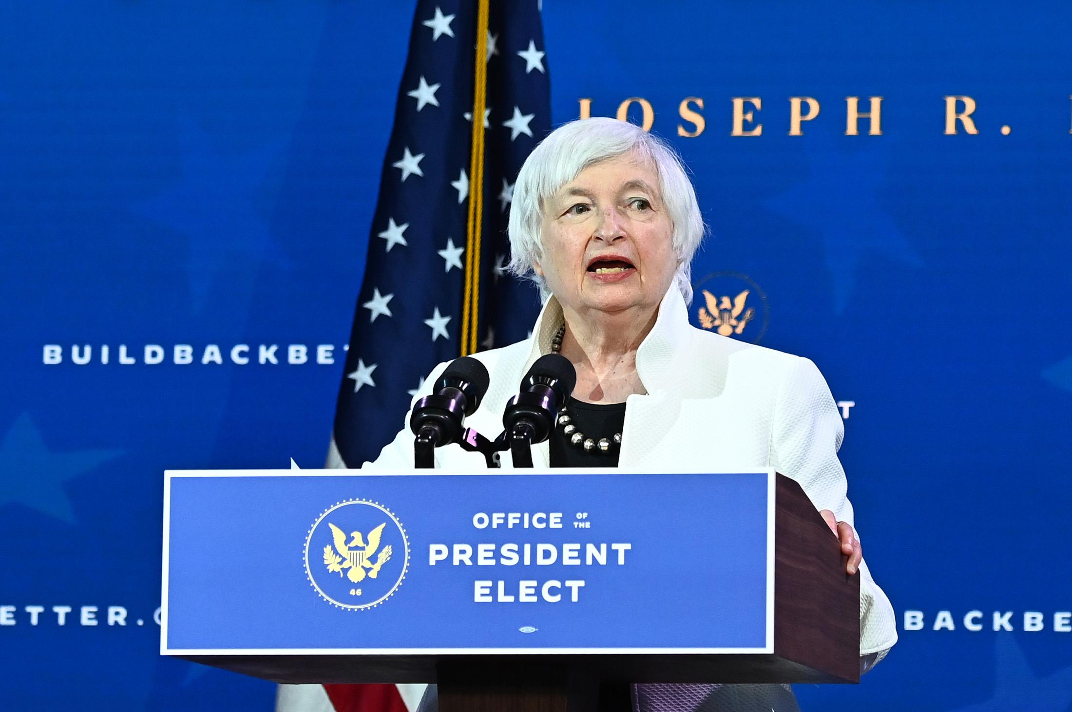 Treasury secretary nominee Janet Yellen speaks after U.S. President-elect Joe Biden announced his economic team at The Queen Theater in Wilmington, Delaware, on December 1.