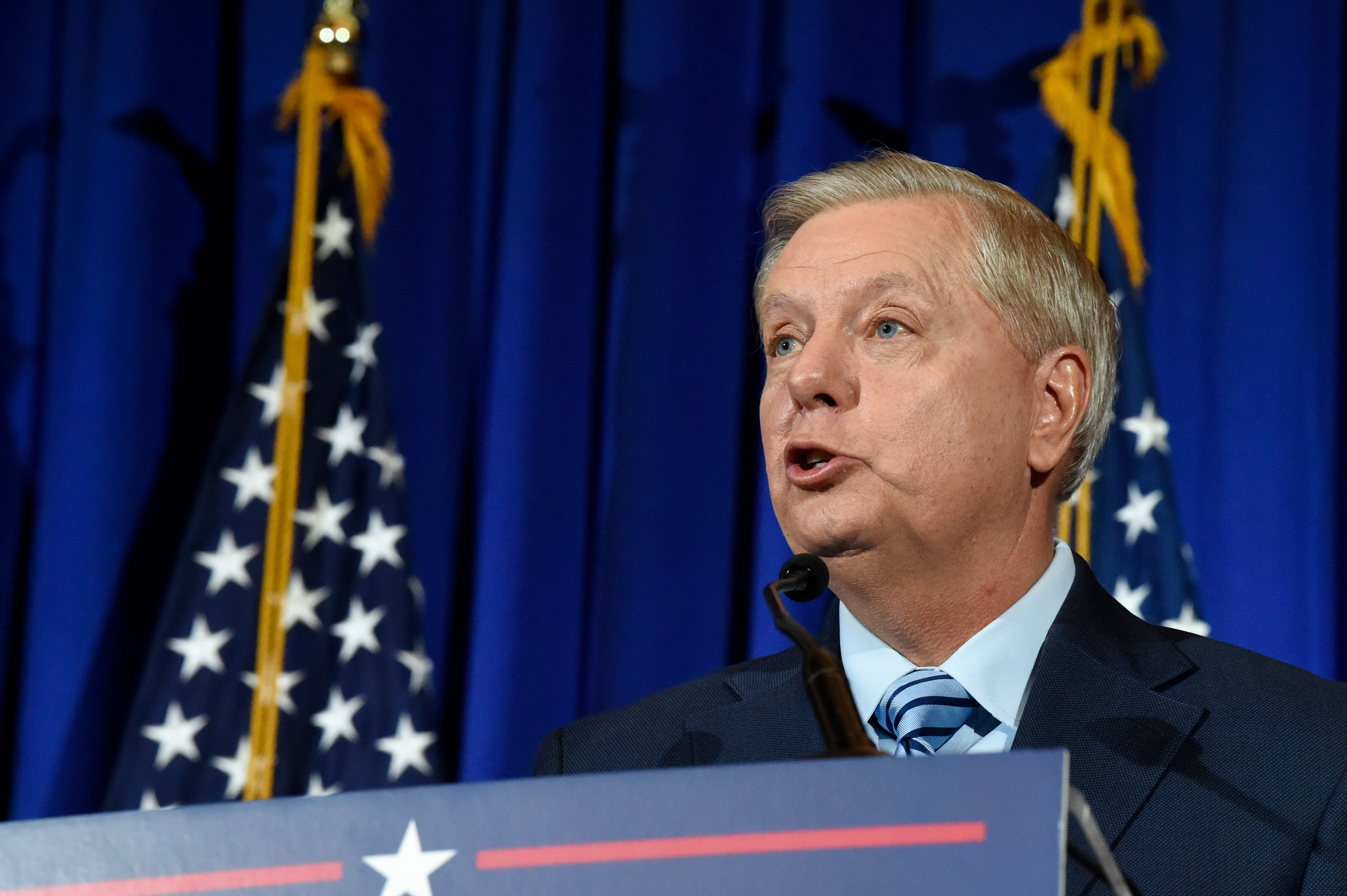 Sen. Lindsey Graham speaks in Columbia, South Carolina, after winning another term in office on November 3.