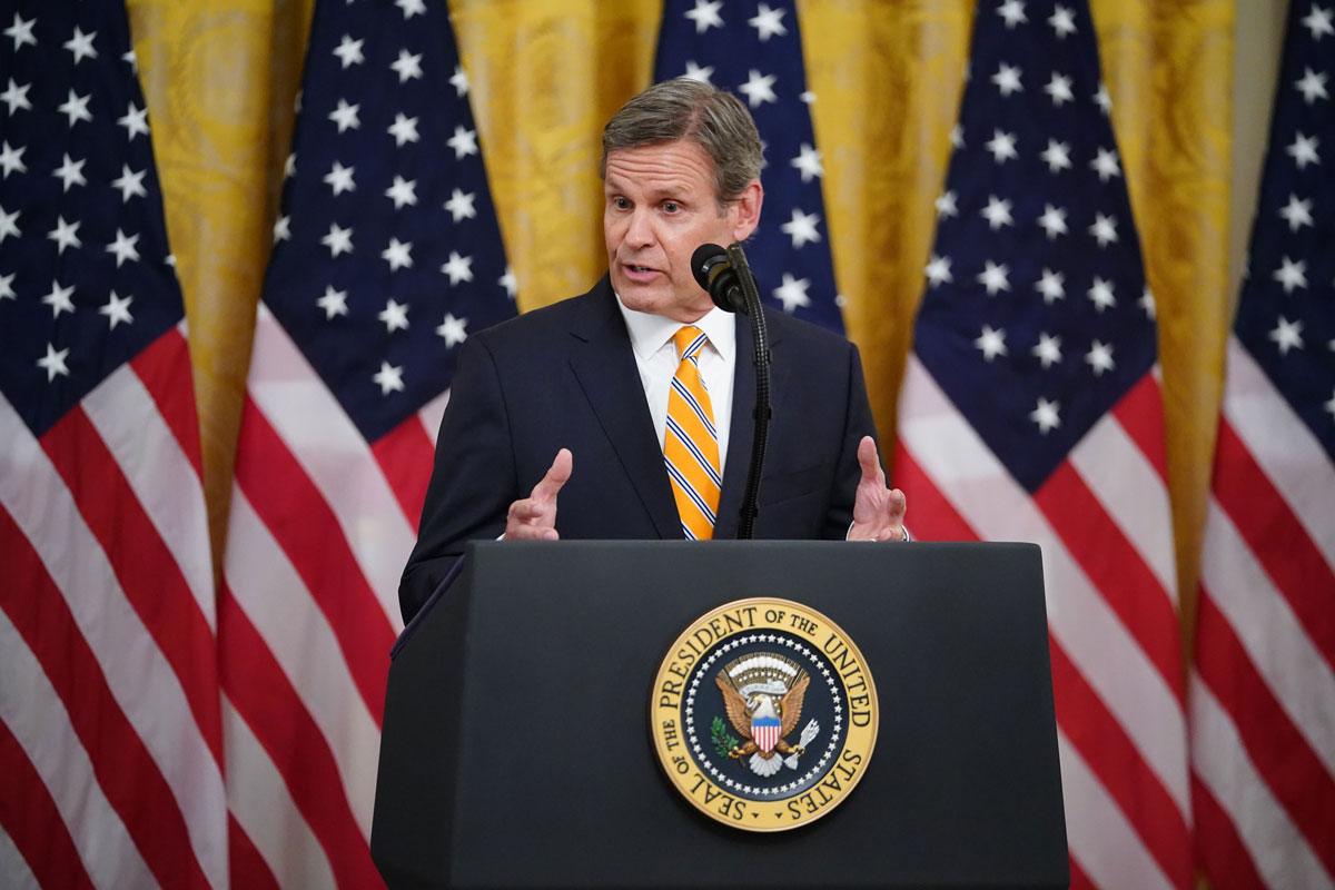 Tennessee Governor Bill Lee speaks on protecting Americas seniors from the COVID-19 pandemic in the East Room of the White House in Washington, DC on April 30.