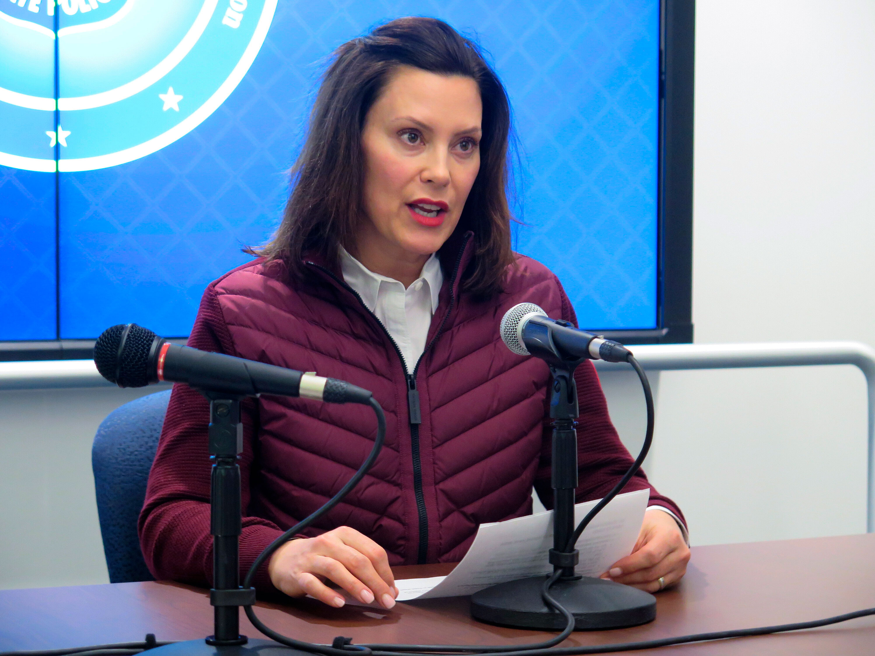Michigan Gov. Gretchen Whitmer announces the state's first two cases of coronavirus on March 10.