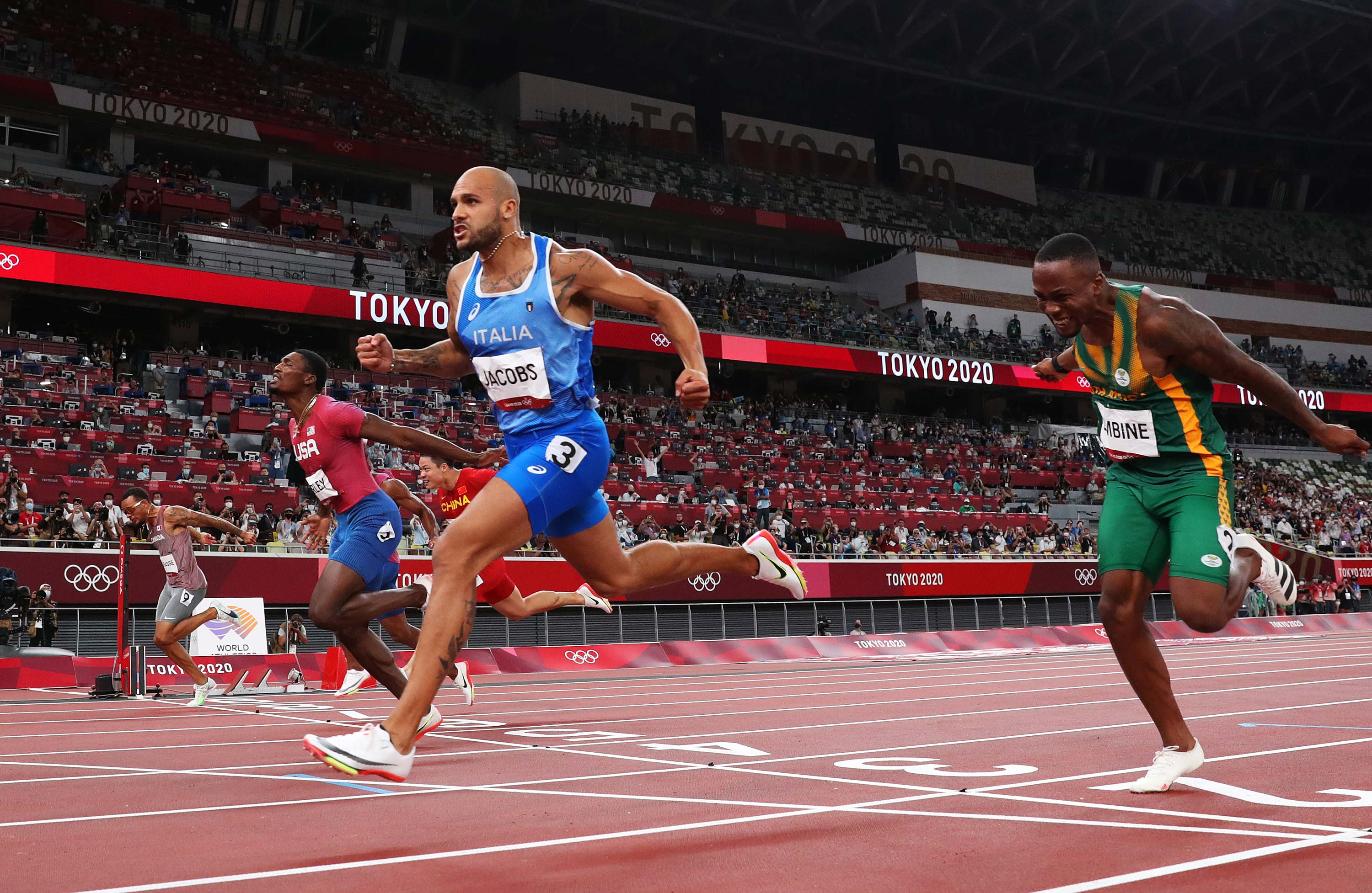 Italy's Lamont Marcell Jacobs wins the 100m final on August 1.