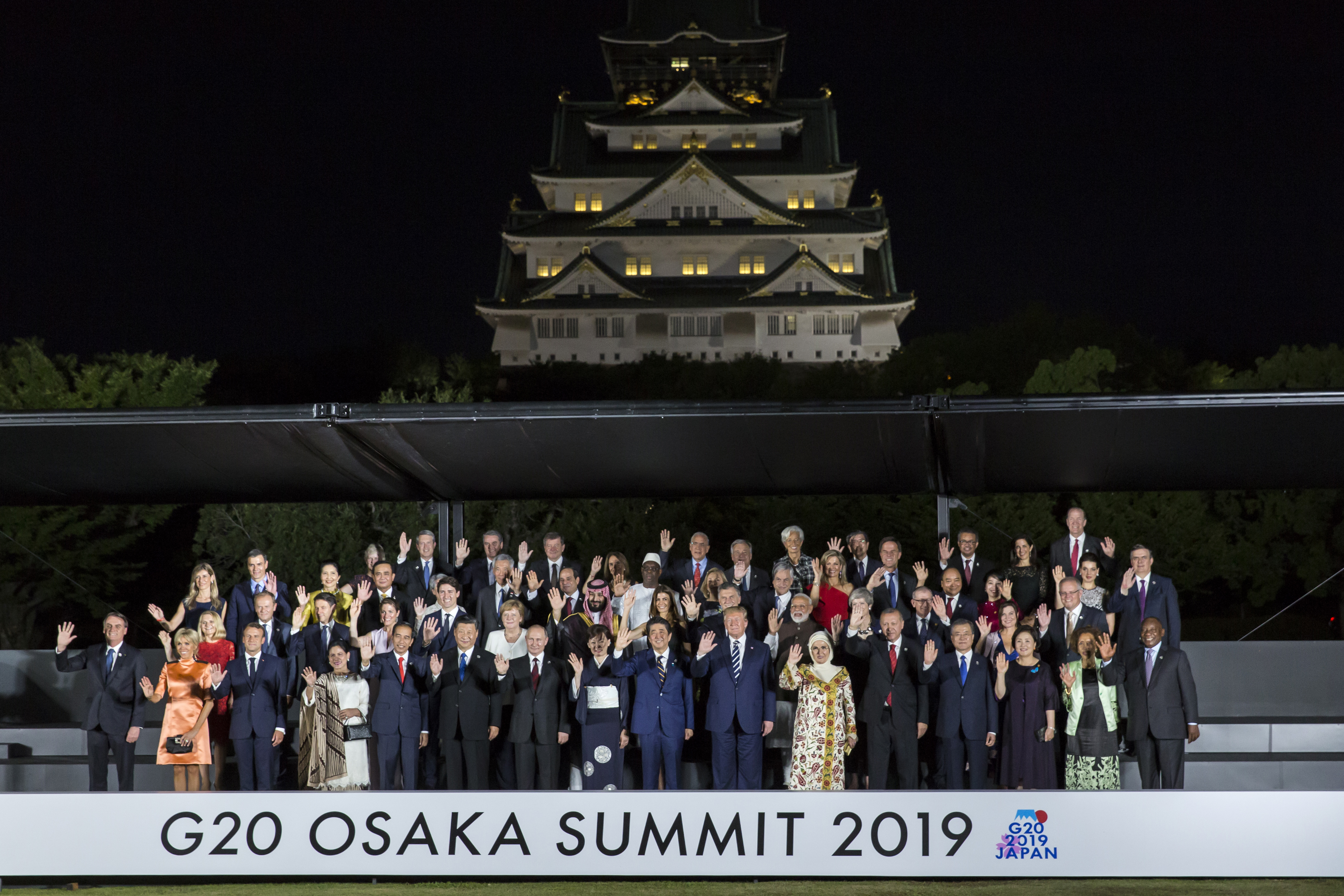 The G20 world leaders pose for a family photograph in front of Osaka Castle on June 28, 2019.
