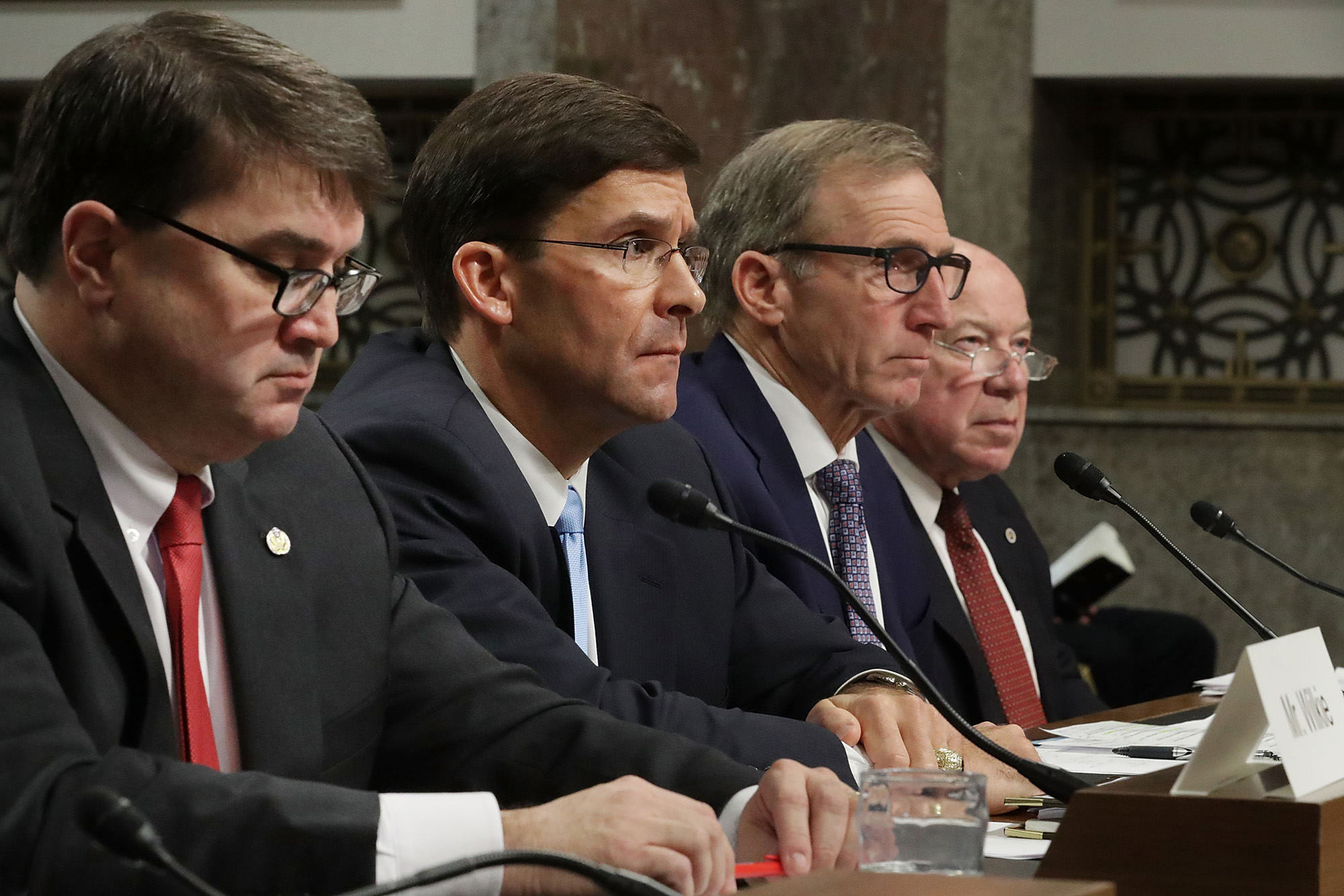 (L-R) Robert Wilkie, Mark Esper, Joseph Kernan and Guy Roberts testify before the Senate Armed Services Committee during their confirmation hearing in the Department of Defense on Capitol Hill in Washington, DC, on November 2, 2017
