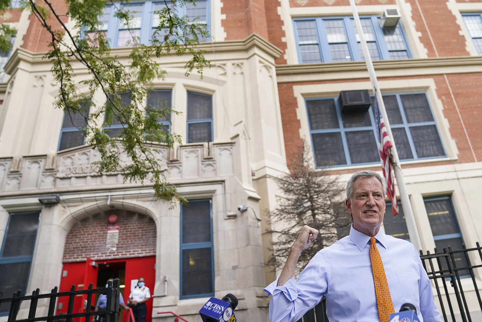 New York Mayor Bill de Blasio speaks to reporters after visiting New Bridges Elementary School to observe pandemic-related safety procedures, in the Brooklyn borough of New York on August 19.