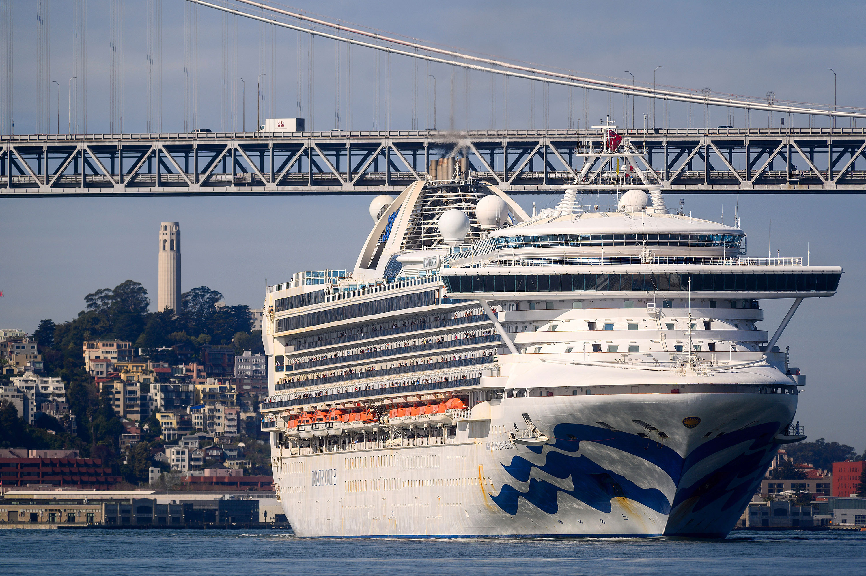 The Grand Princess ship in San Francisco on March 9.