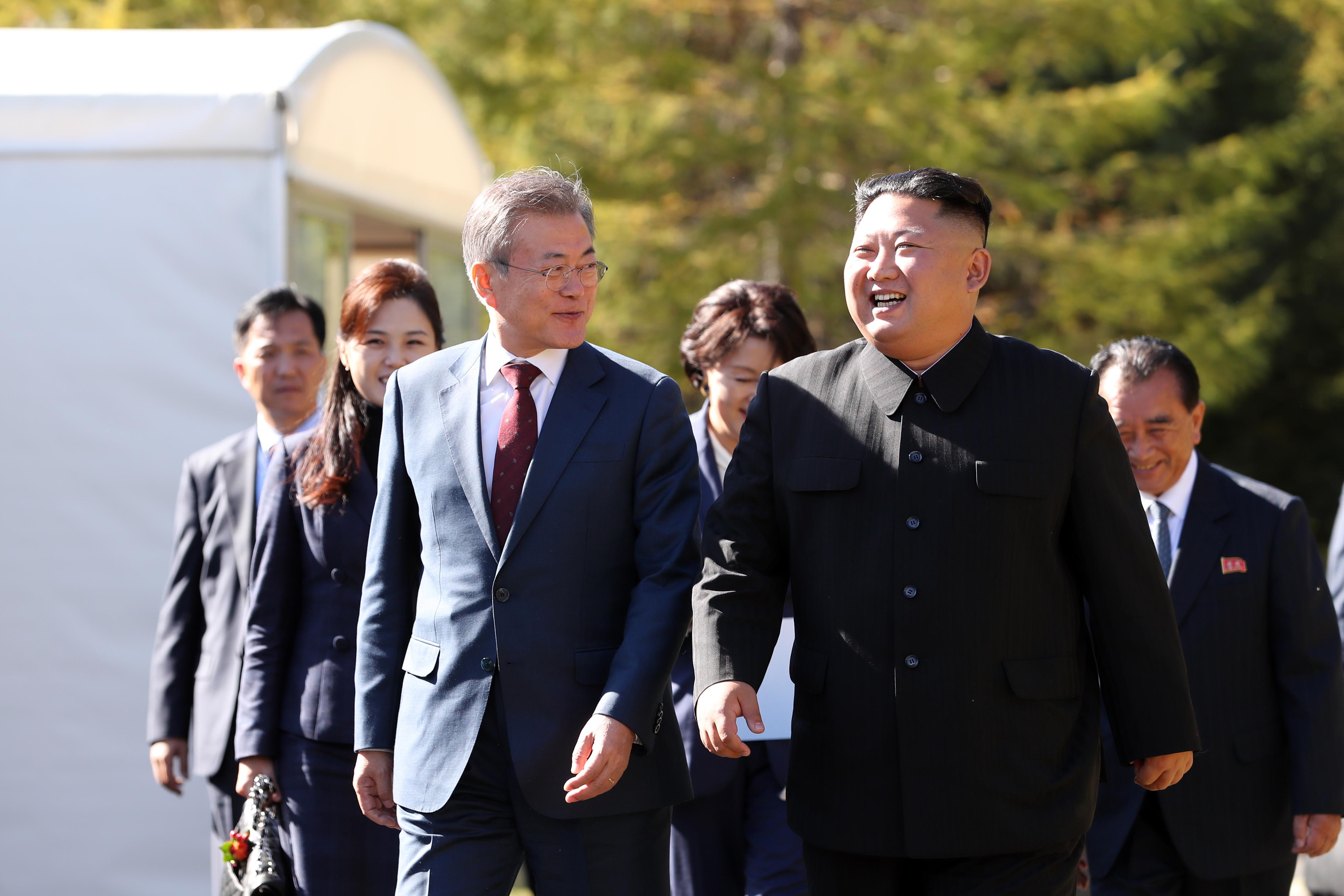 North Korean leader Kim Jong Un and South Korean President Moon Jae-in on September 20, 2018 in Samjiyon, North Korea.