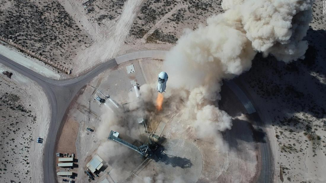 New Shepard NS-14 lifting off from Launch Site One in West Texas during a test flight on January 14, 2021.