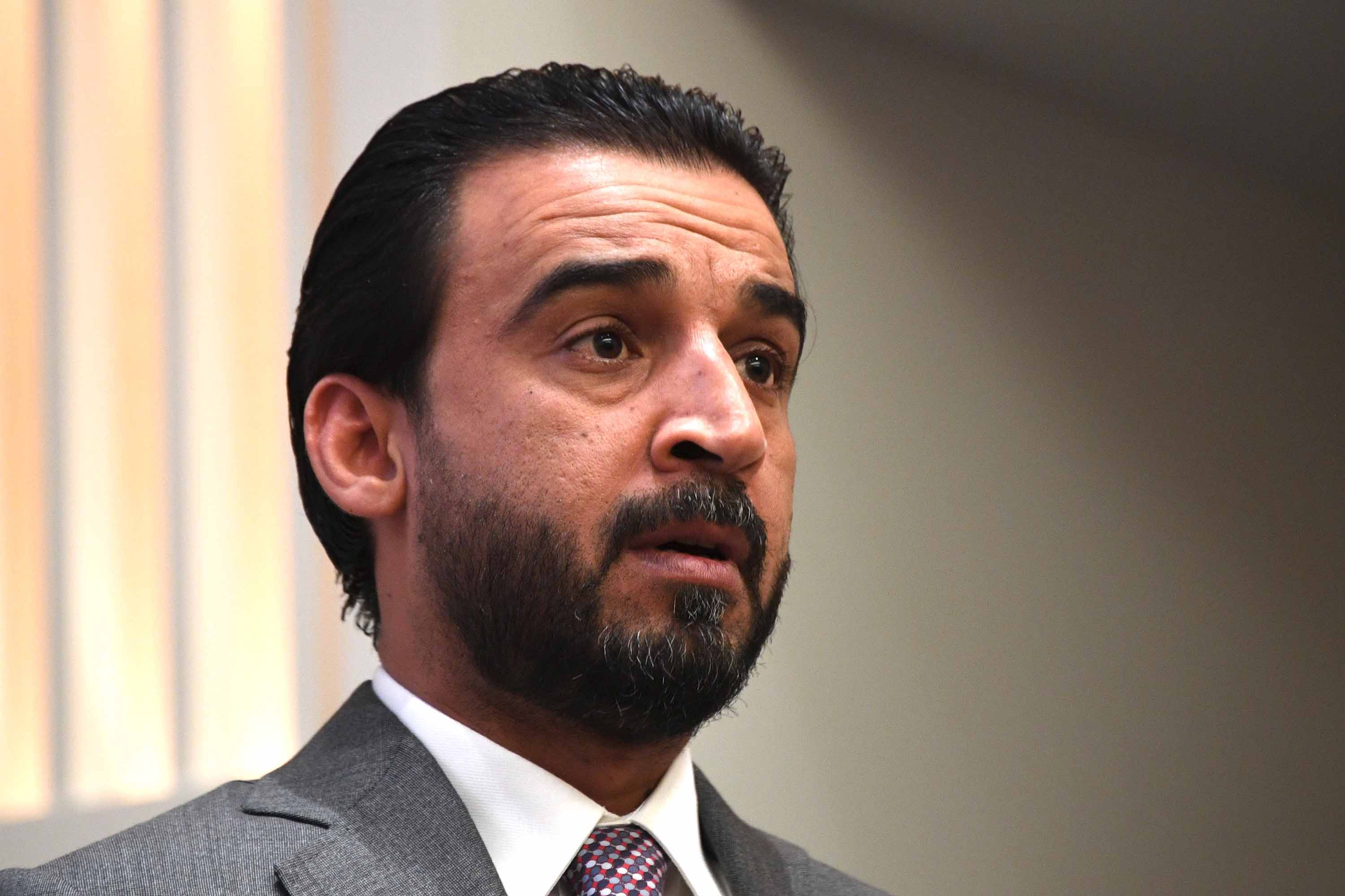 Iraq Council of Representatives Speaker Mohammed al-Halbousi speaks in Washington, DC, on March 29, 2019.