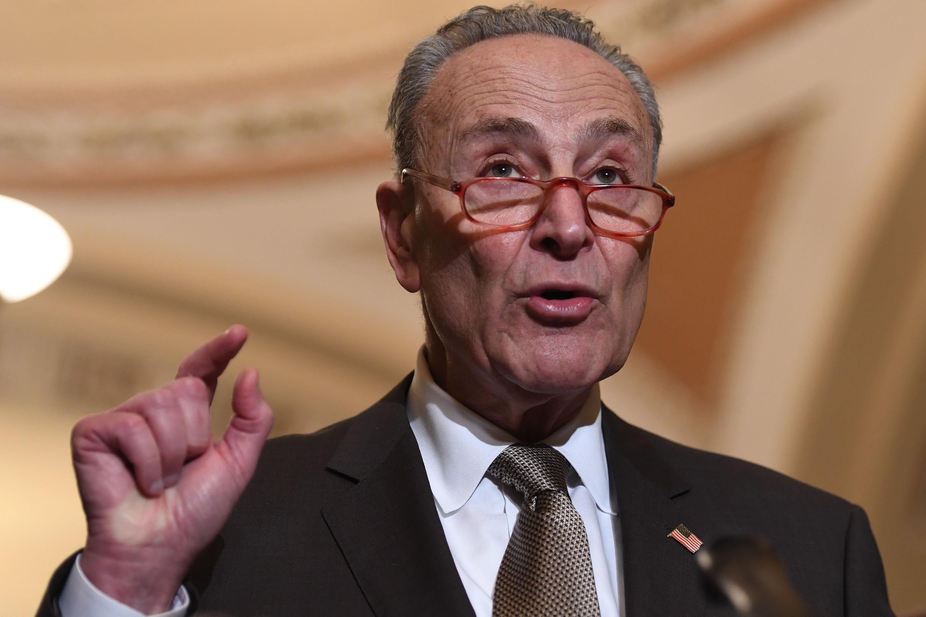 Chuck Schumer speaks during a press conference at the US Capitol in Washington, December 10, 2019.