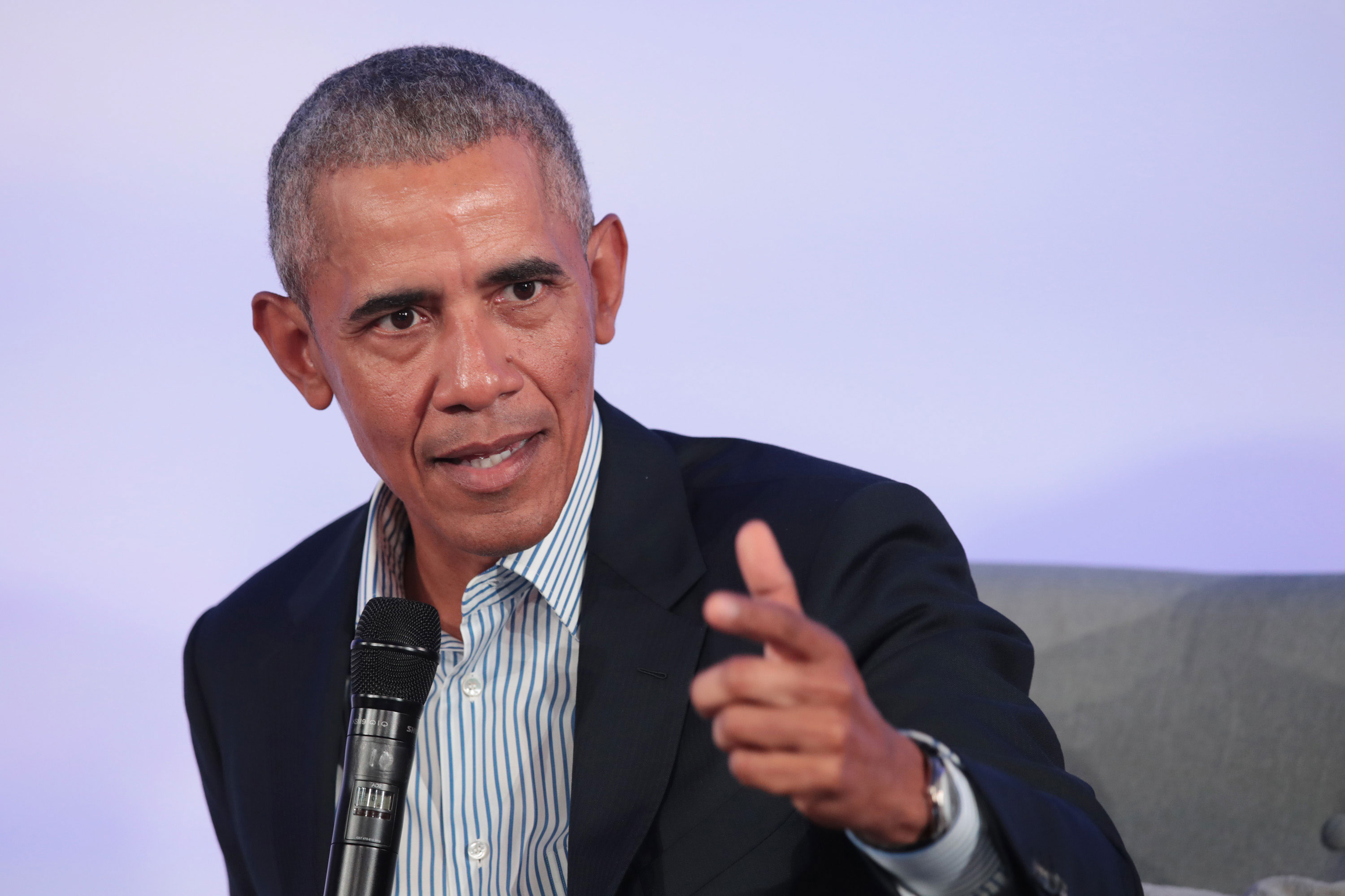 Barack Obama speaks at the Obama Foundation Summit on October 29, 2019 in Chicago, Illinois.
