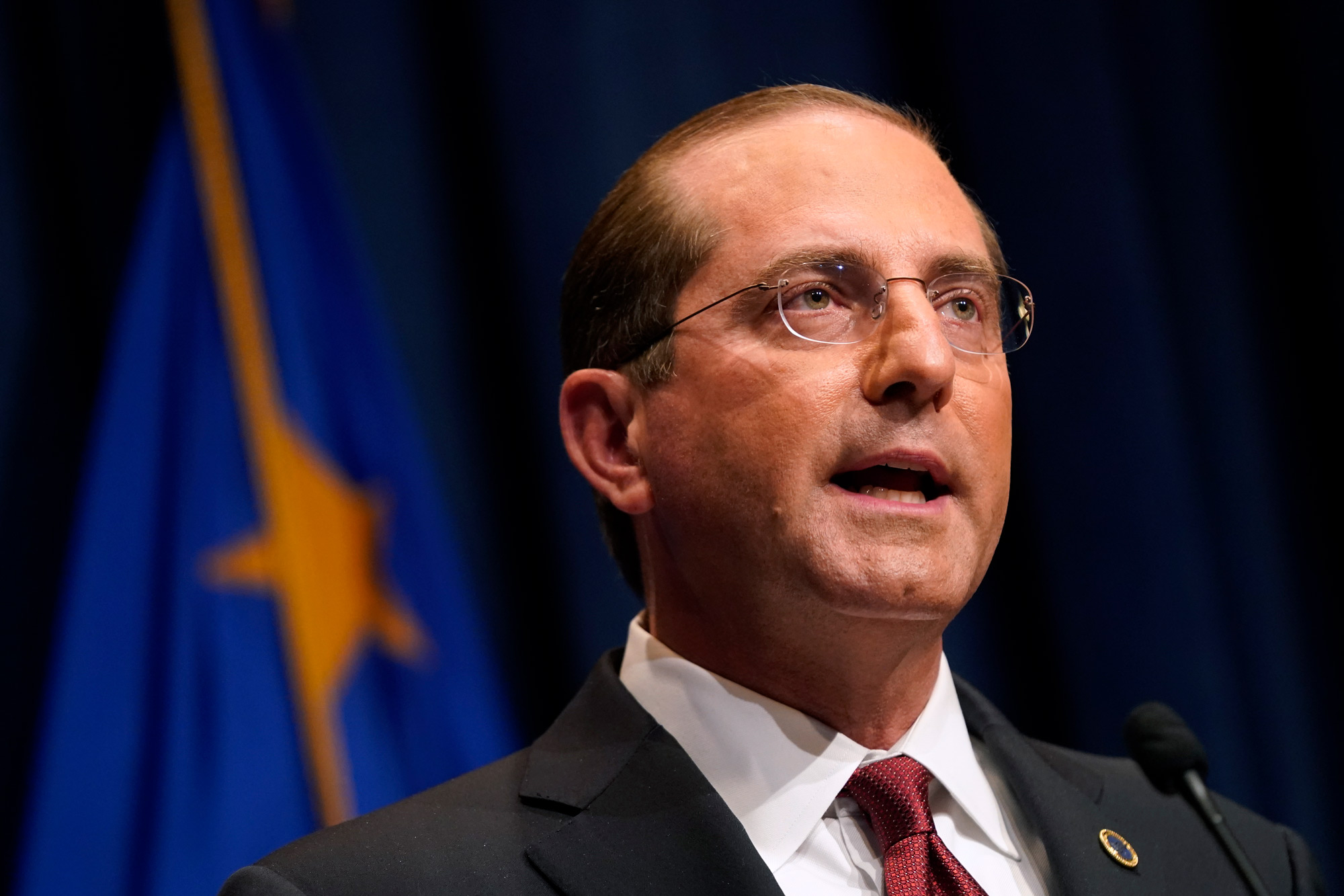 Health and Human Services Secretary Alex Azar speaks during a news conference on January 12 in Washington, DC.