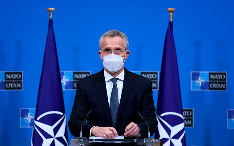 NATO Secretary General Jens Stoltenberg speaks during a media conference at NATO headquarters in Brussels, Wednesday, April 14.
