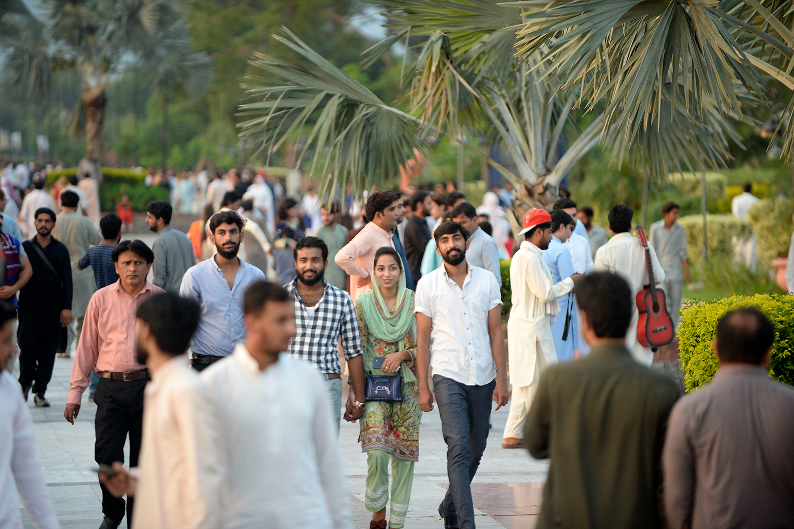 Tourists visit the Lake View Park after the government recently eased Covid-19 restrictions in Islamabad, Pakistan, on August 23.