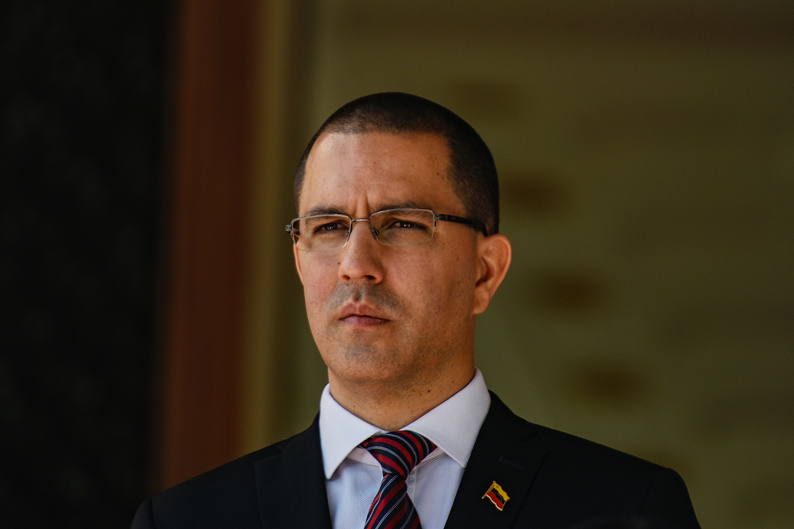 Venezuelan Foreign Minister Jorge Arreaza stands at the Miraflores Government Palace in Caracas, Venezuela, on February 7, 2020.