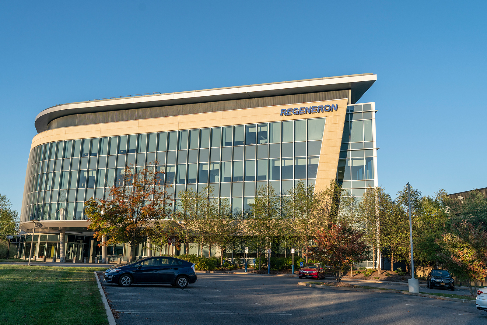 View of Corporate and Research & Development Headquarters of Regeneron Pharmaceuticals, Inc. on Old Saw Mill River Road in Tarrytown, New York, on October 2.