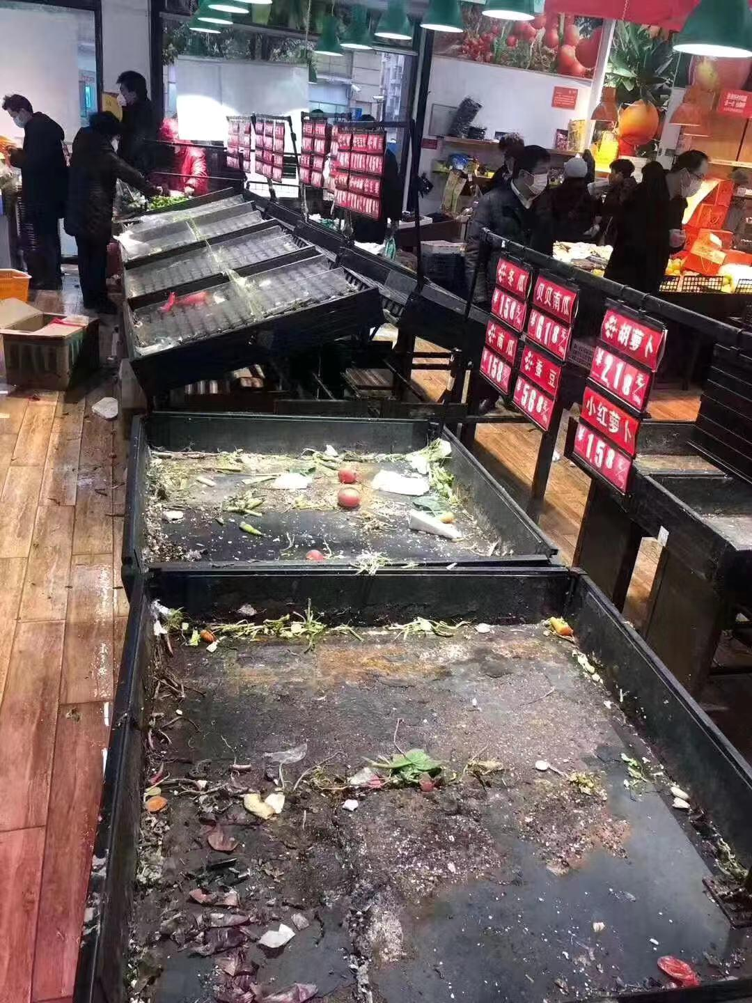 This photograph taken Thursday morning shows inside a grocery store in Wuhan.