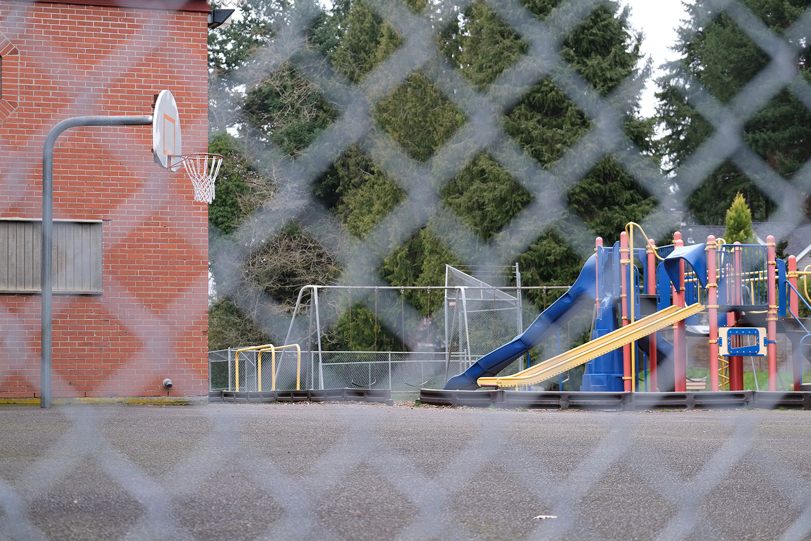 An empty playground at Forest Hills Elementary school in Lake Oswego, Oregon.