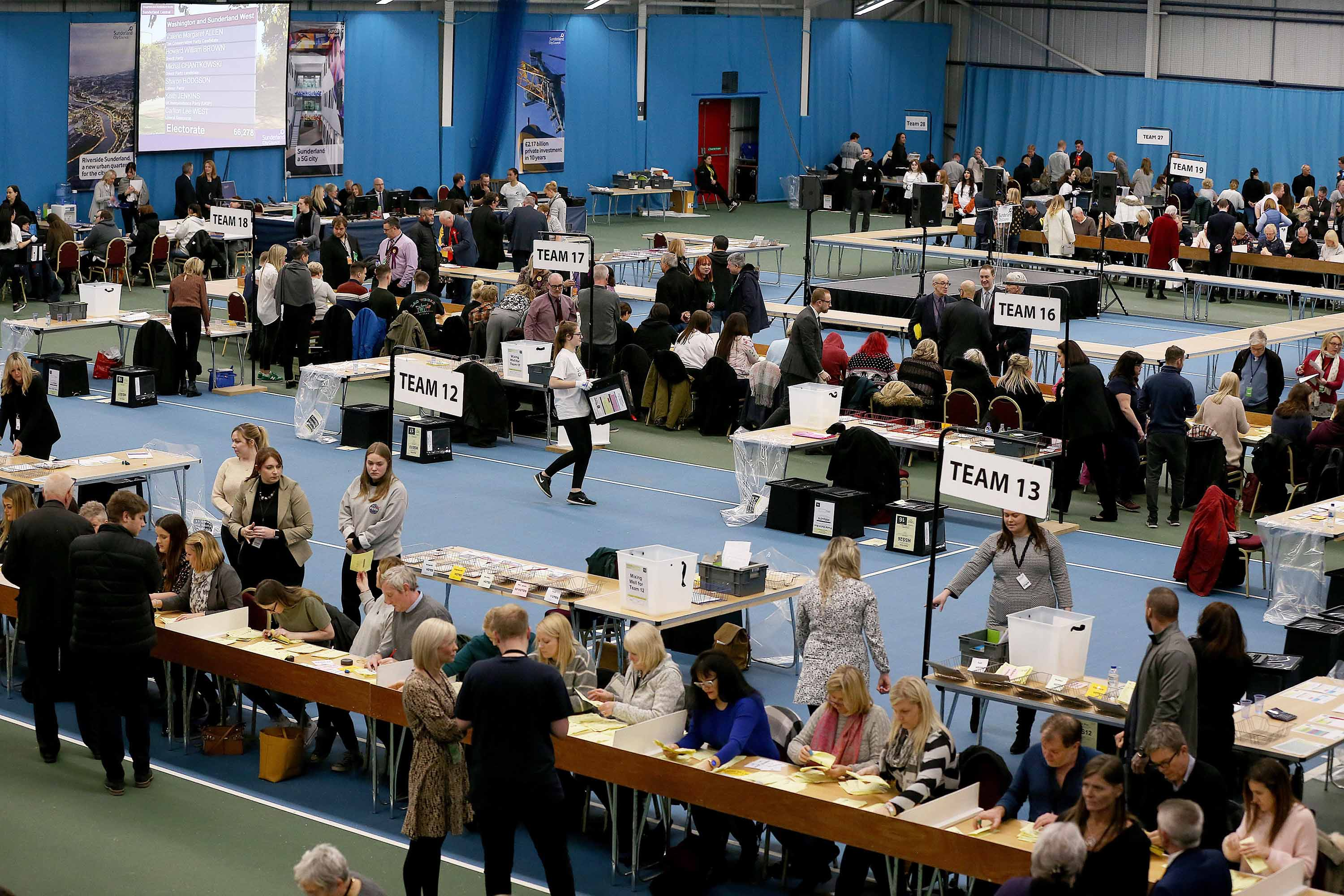 Ballots are counted at Silksworth Community Centre for the Houghton and Sunderland South constituency. Photo: Nigel Roddis/PA Images via Getty Images