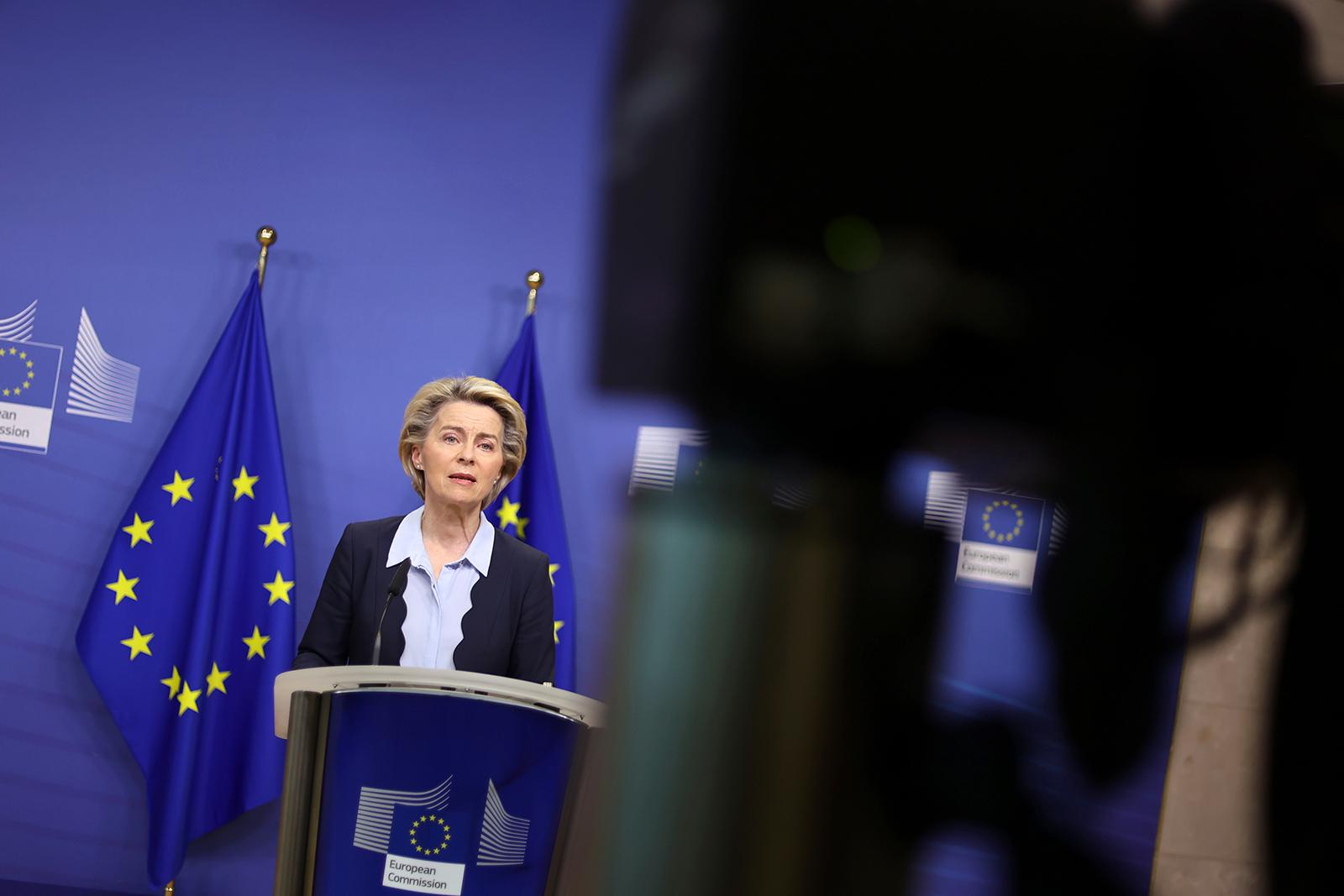 European Commission President Ursula von der Leyen gives a statement at the EU headquarters in Brussels, Monday, Novem 16.