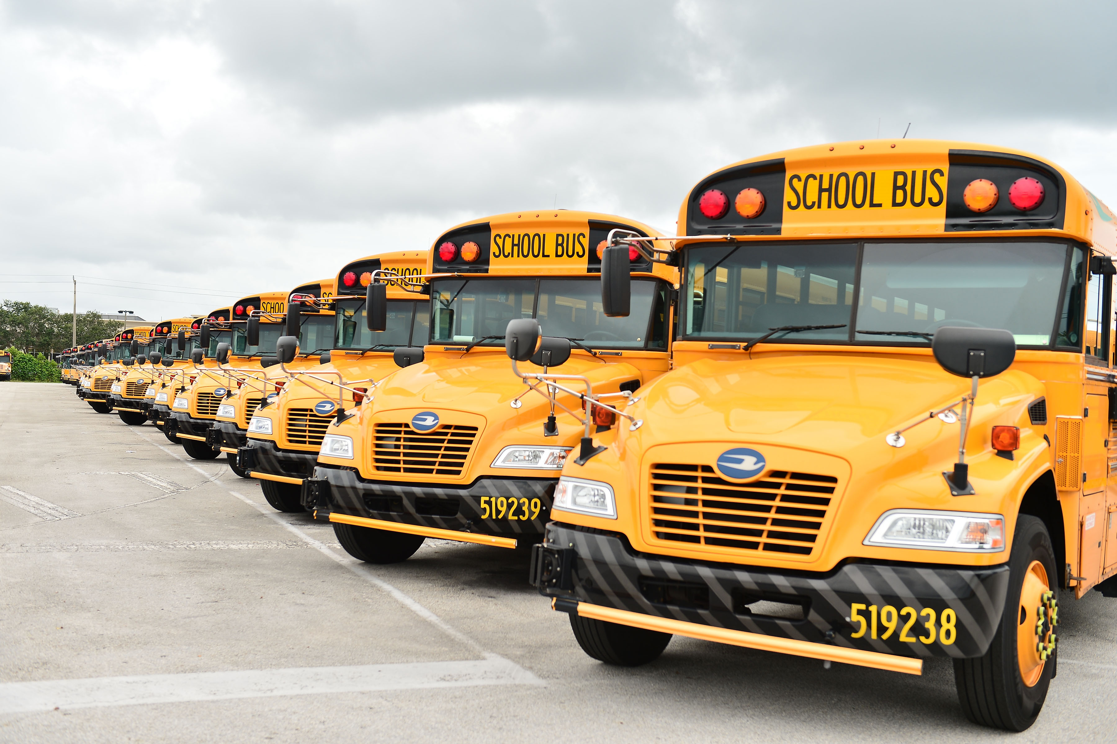 A fleet of Broward County school buses are parked in a lot on July 21 in Pembroke Pines, Florida.