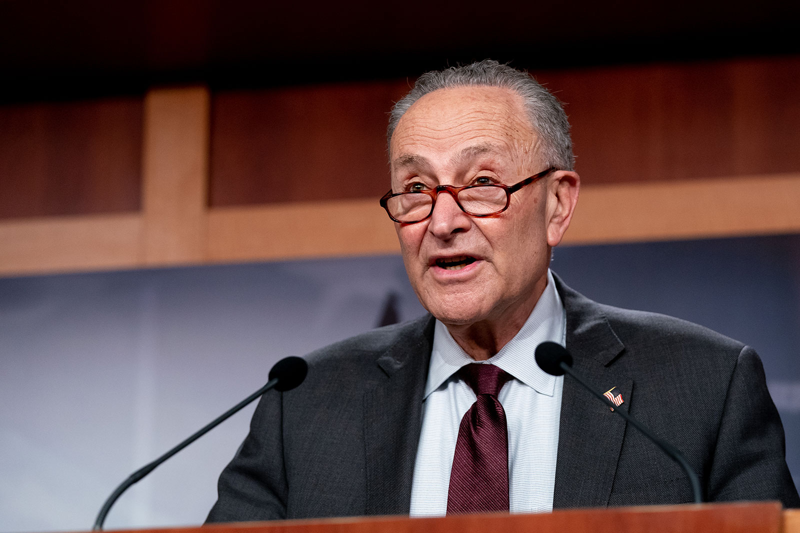 Senate Majority Leader Chuck Schumer speaks during a news conference on Tuesday.