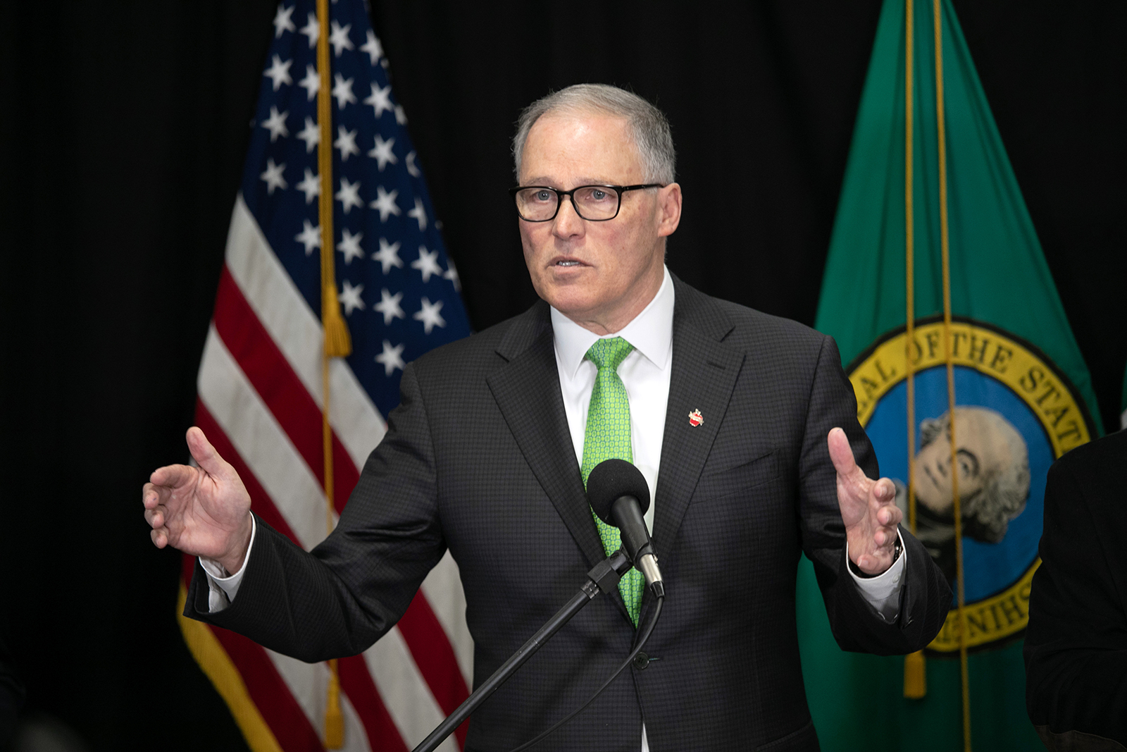 Gov. Jay Inslee at a press conference in Seattle, Washington on March 11.