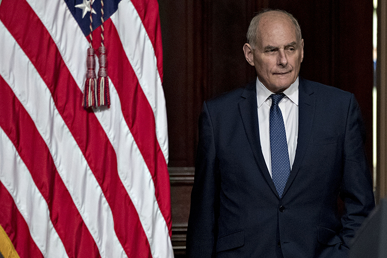 John Kelly attends an Interagency Task Force to Monitor and Combat Trafficking in Persons annual meeting in the Indian Treaty Room of the Eisenhower Executive Office Building in Washington, D.C., on Thursday, October 11, 2018.