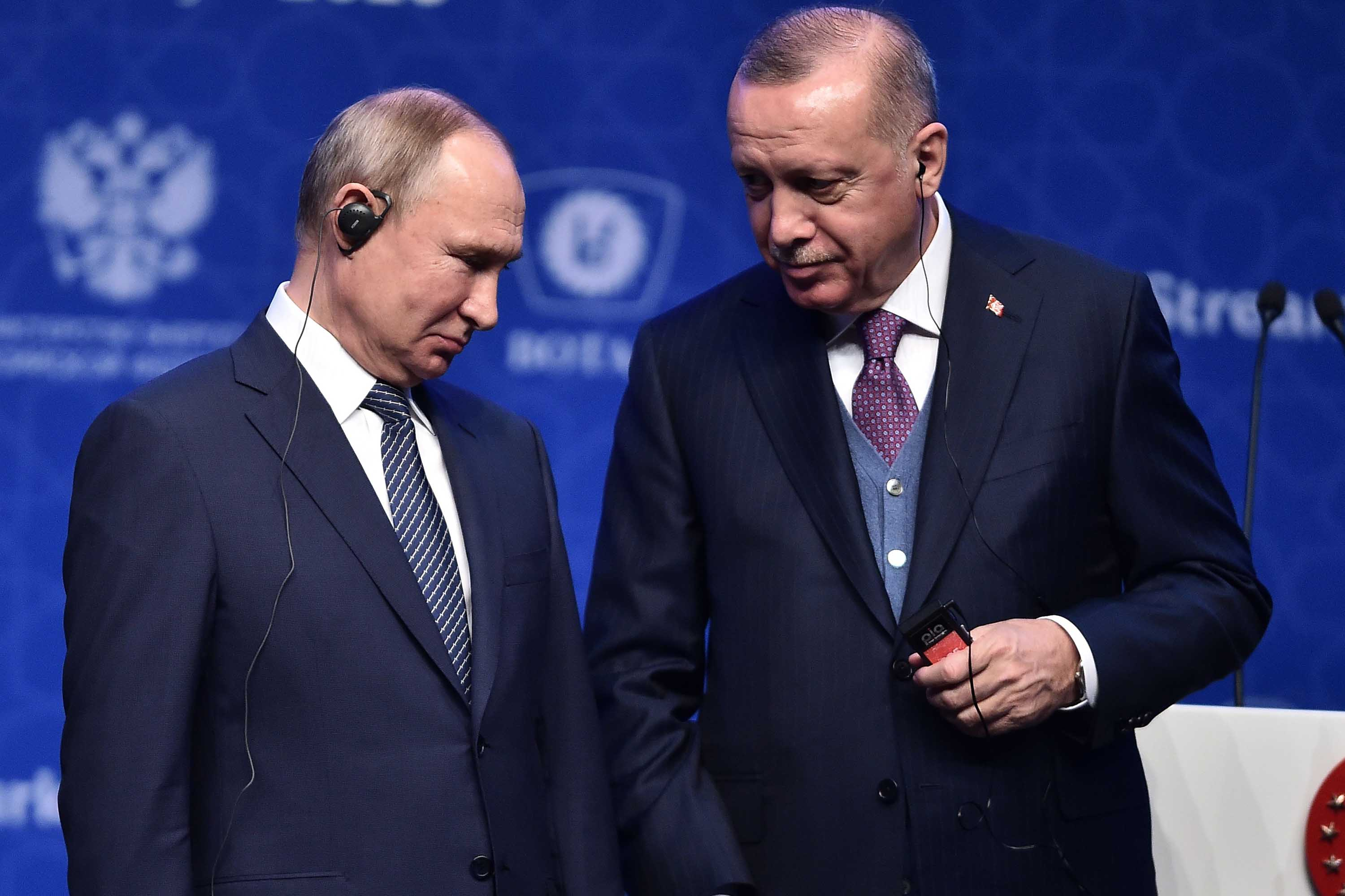Russian President Vladimir Putin and Turkish President Recep Tayyip Erdogan attend the inauguration ceremony of a new gas pipeline in Istanbul, Turkey on Wednesday.