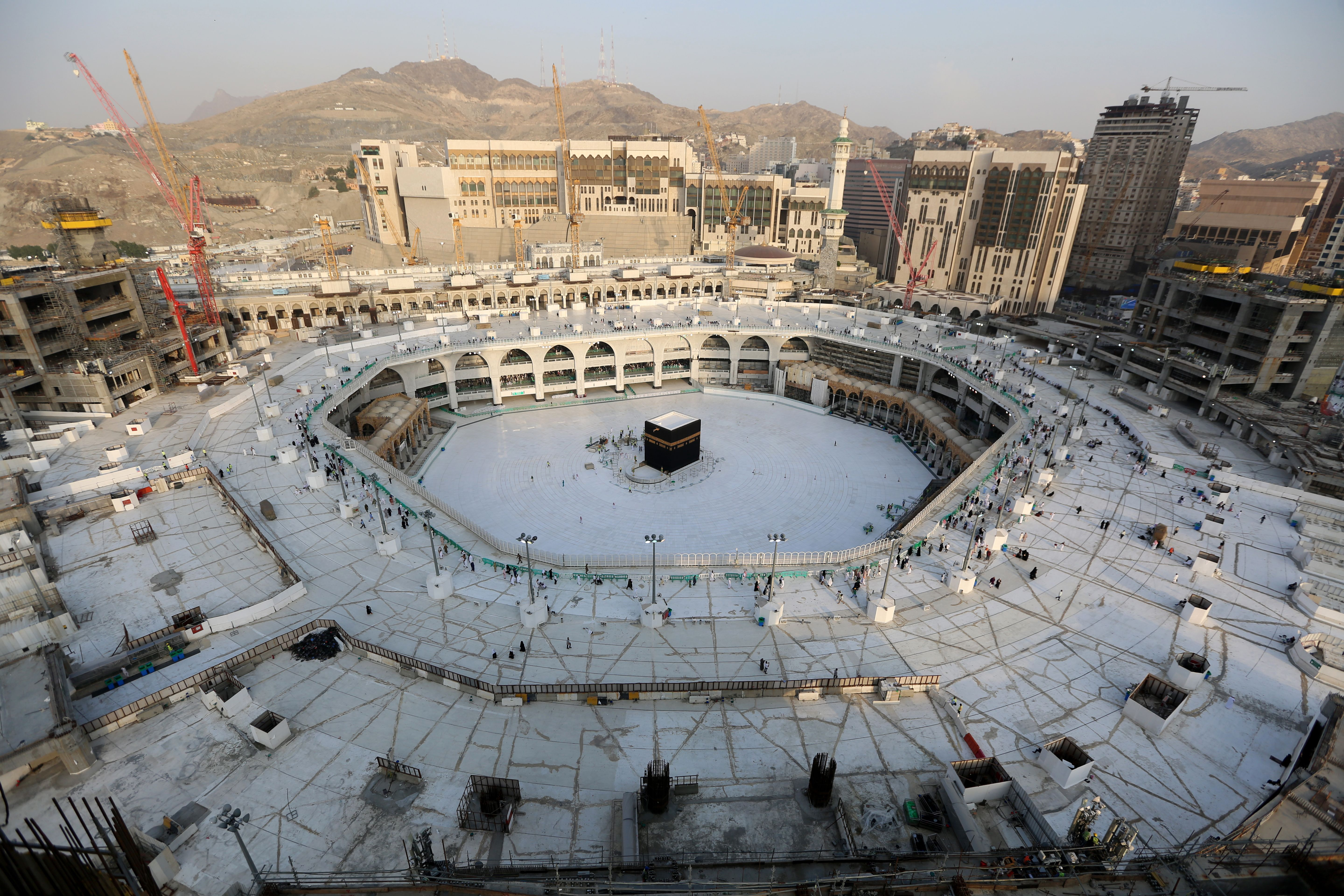 A photograph taken in Saudi Arabia on March 5, 2020, shows the white-tiled area surrounding the Kaaba, inside Mecca's Grand Mosque.