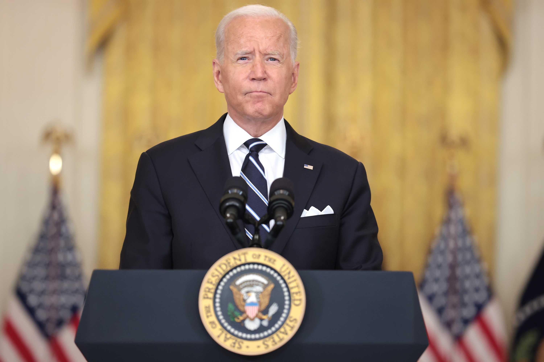 President Joe Biden speaks from the East Room of the White House on August 18, in Washington, DC.