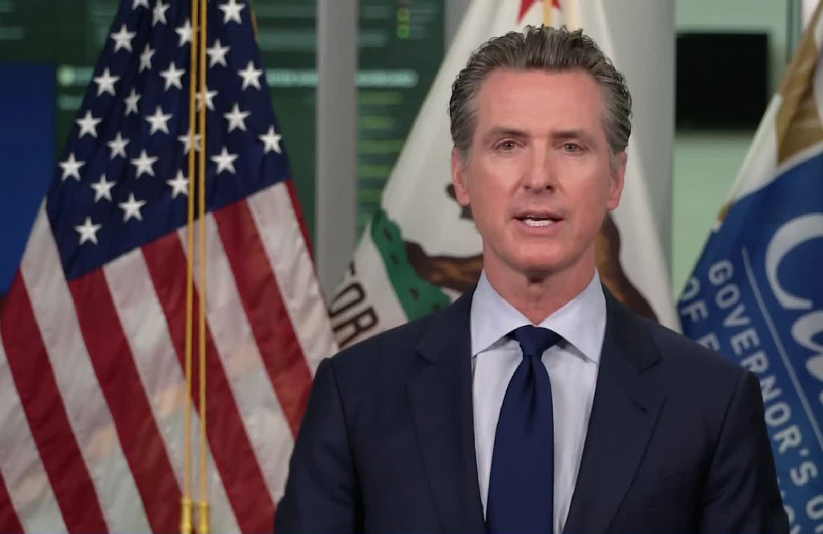 Gov. Gavin Newsom speaks during a news conference on August 26.