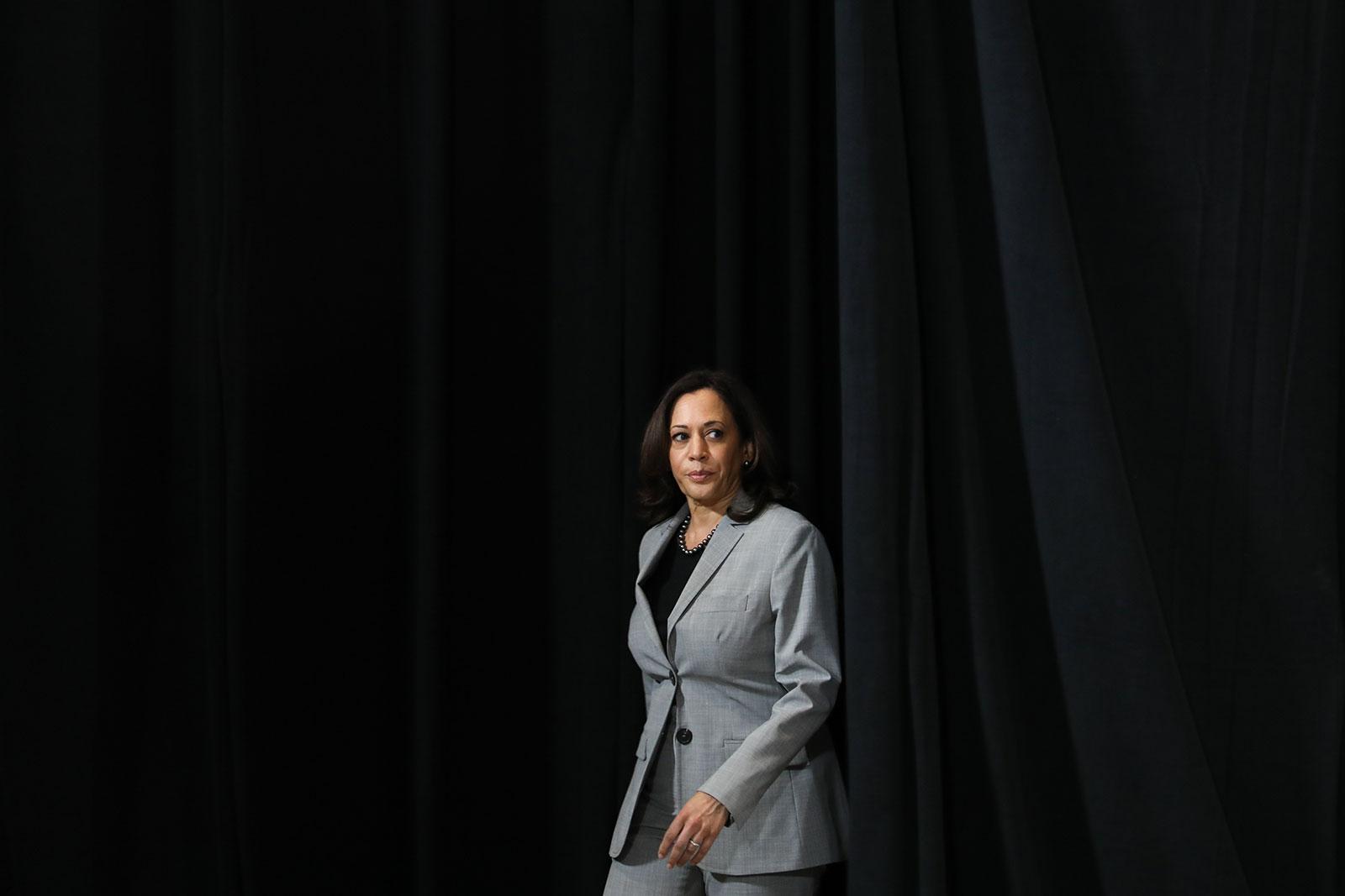 Democratic vice presidential nominee Kamala Harris arrives at Shaw University in Raleigh, North Carolina, on Monday.