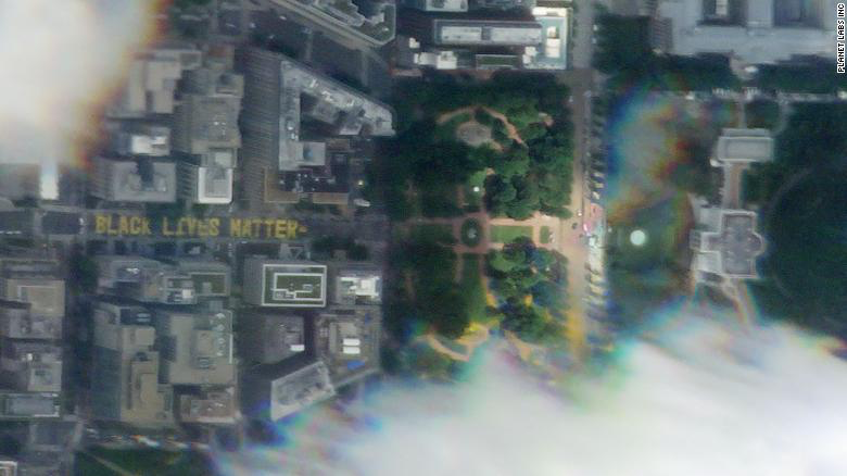 The Black Lives Matter street mural in Washington as seen from space.
