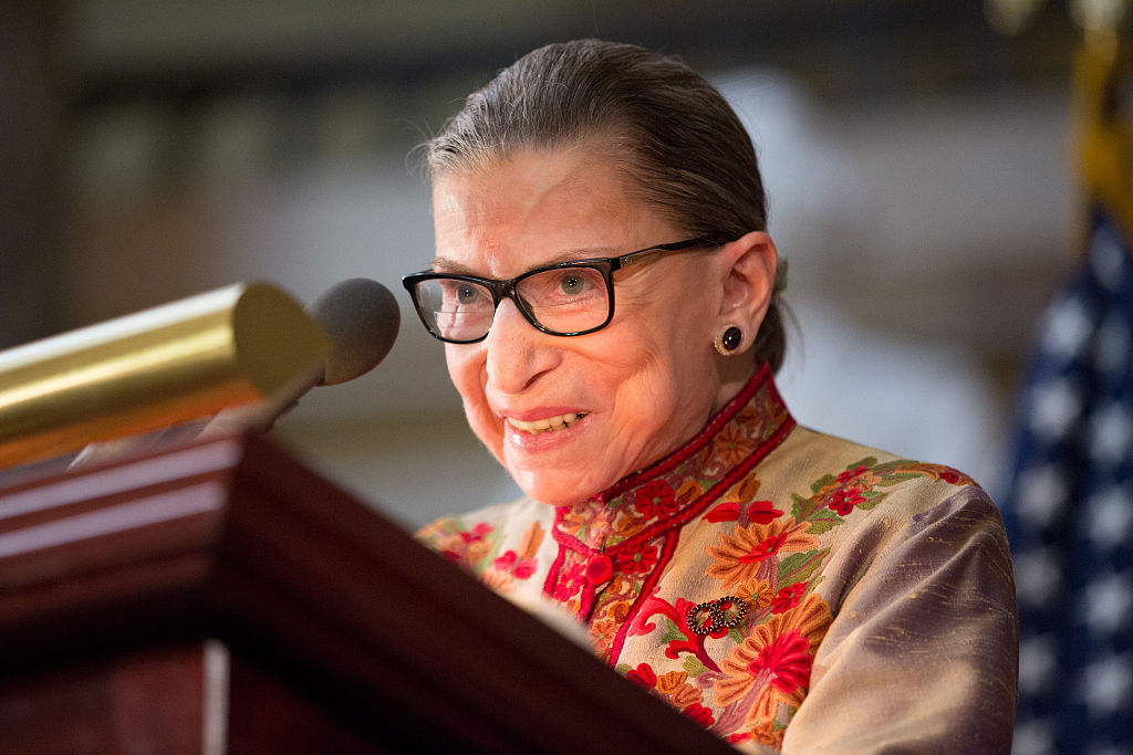 Justice Ruth Bader Ginsburg speaks at an annual Women's History Month reception in the US Capitol building in 2015.