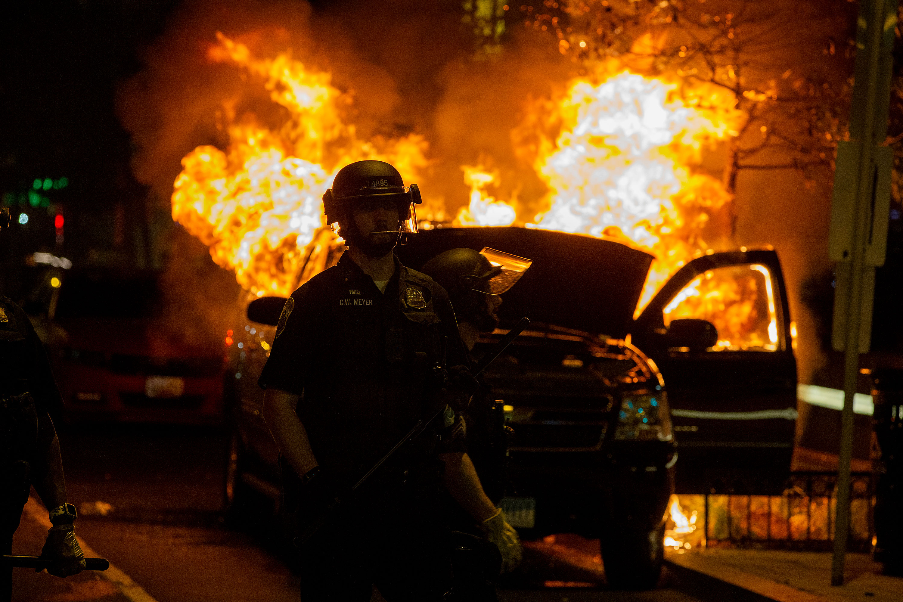 A vehicle burns during a protest near Lafayette Square Park in Washington on May 30.