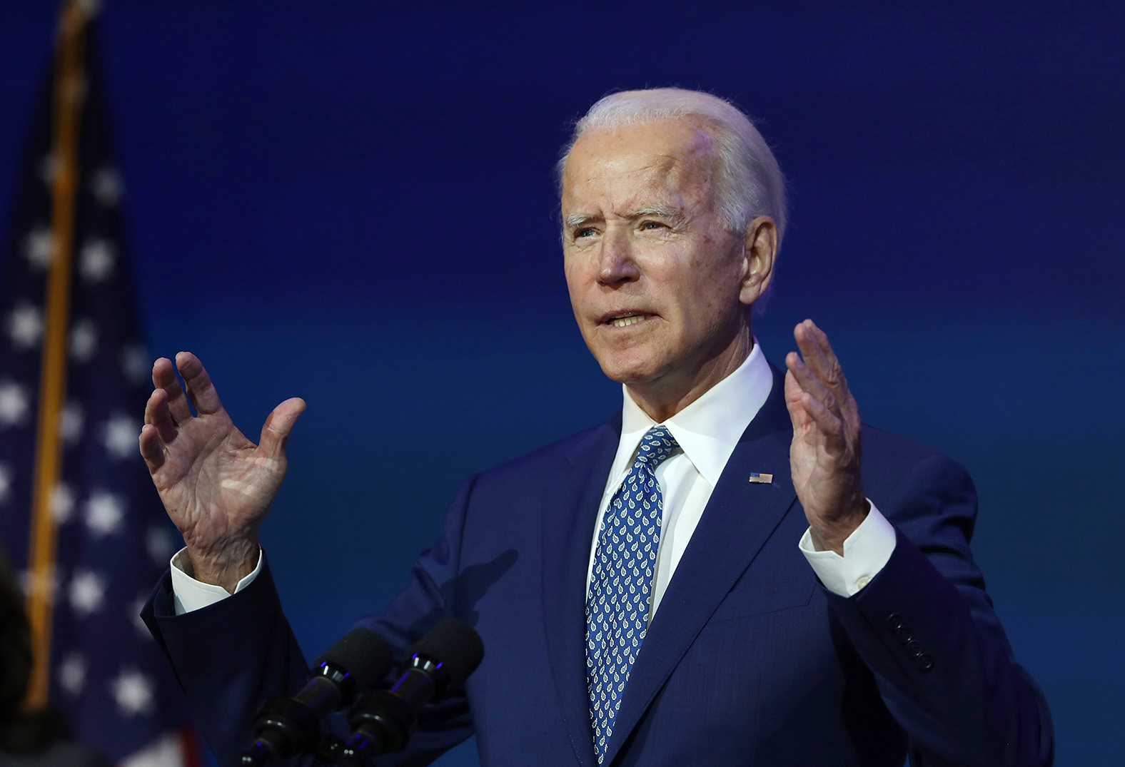US President-elect Joe Biden speaks to the media after receiving a briefing from the transition Covid-19 advisory board at the Queen Theater in Wilmington, Delaware, on November 09.