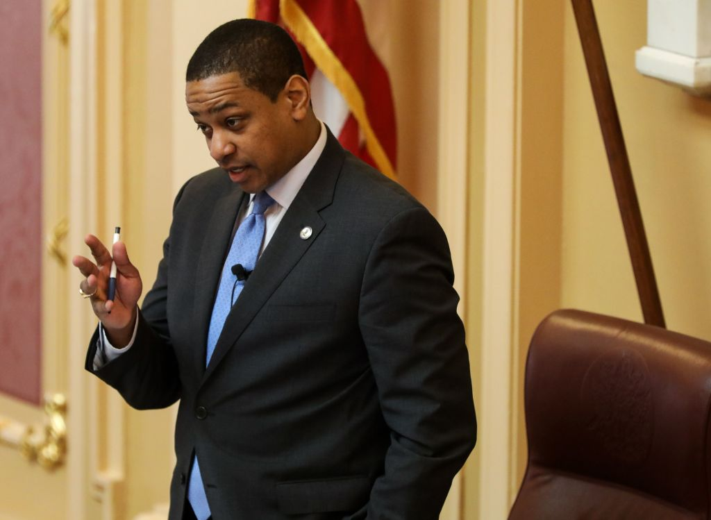 Virginia Lt. Gov. Justin Fairfax presides over a session of the state Senate in downtown Richmond on Feb. 4, 2019.