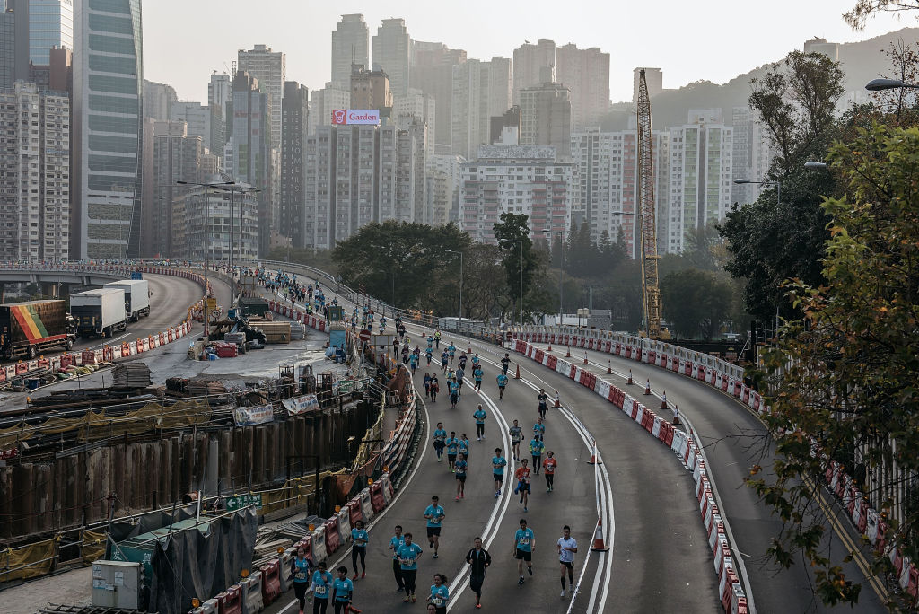 Participants take part in the 2017 iteration of the Hong Kong Marathon.
