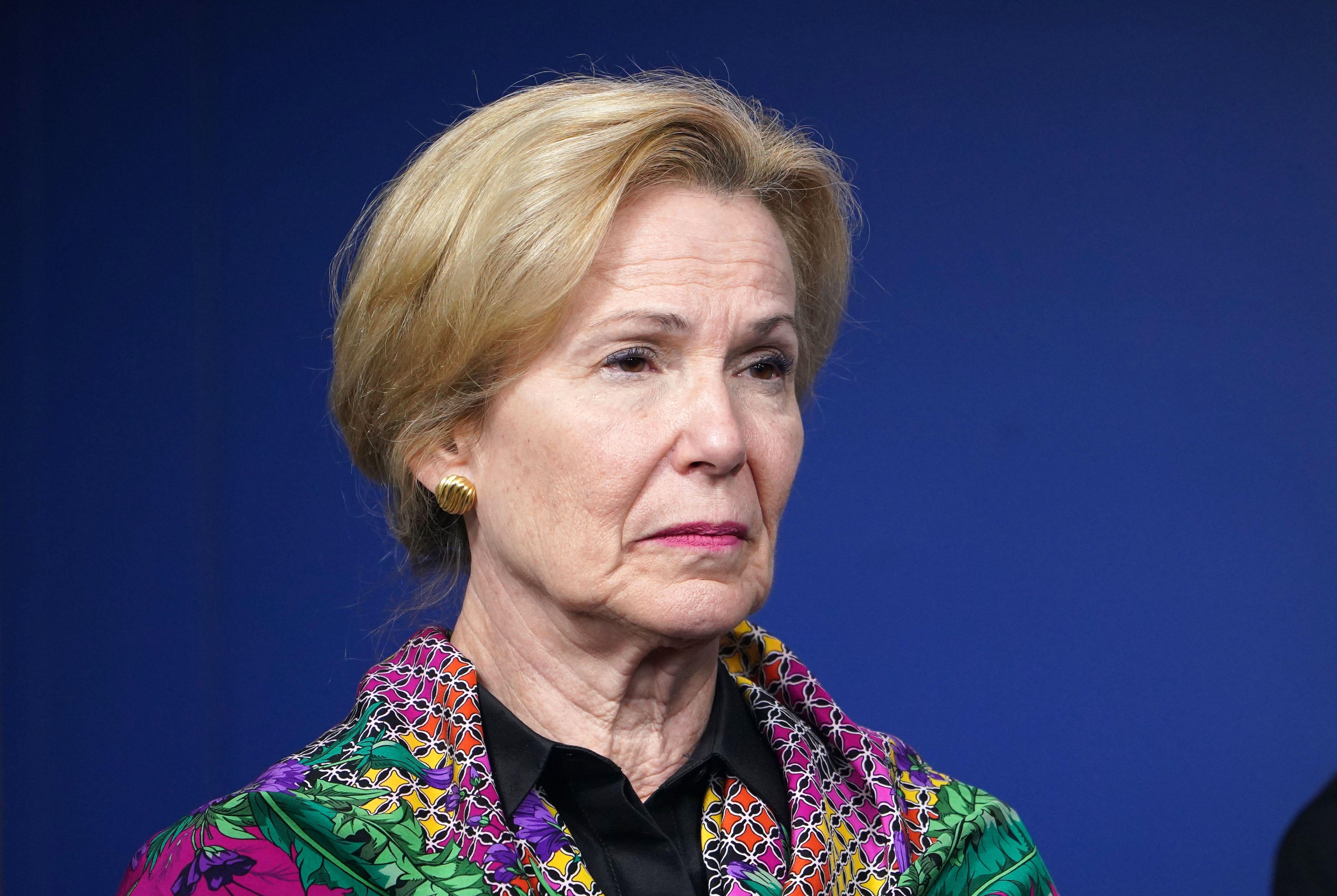 Dr. Deborah Birx listens during a coronavirus briefing at the White House on April 20.
