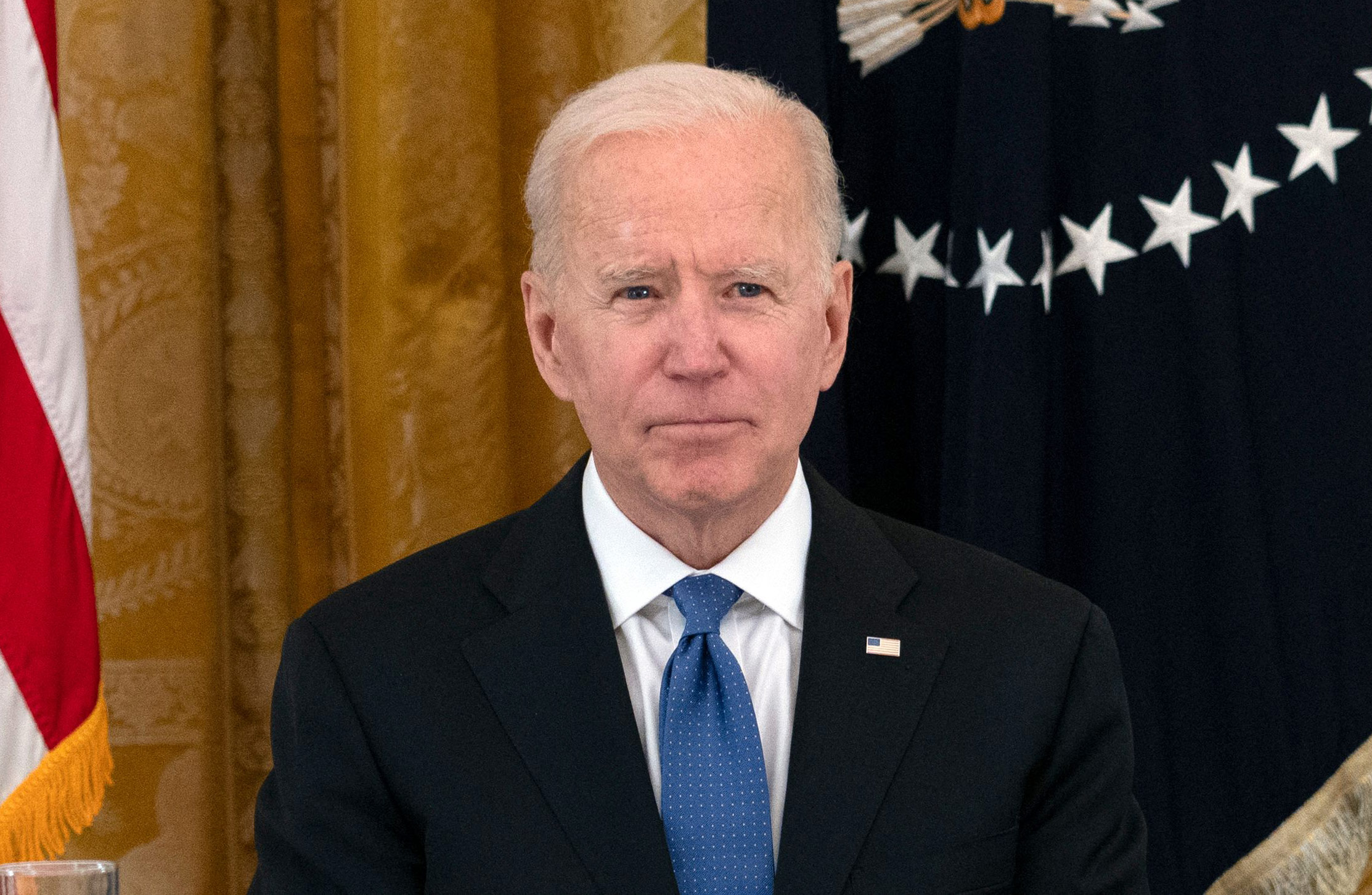President Joe Biden attends a cabinet meeting in the East Room of the White House in Washington, DC, on April 1.